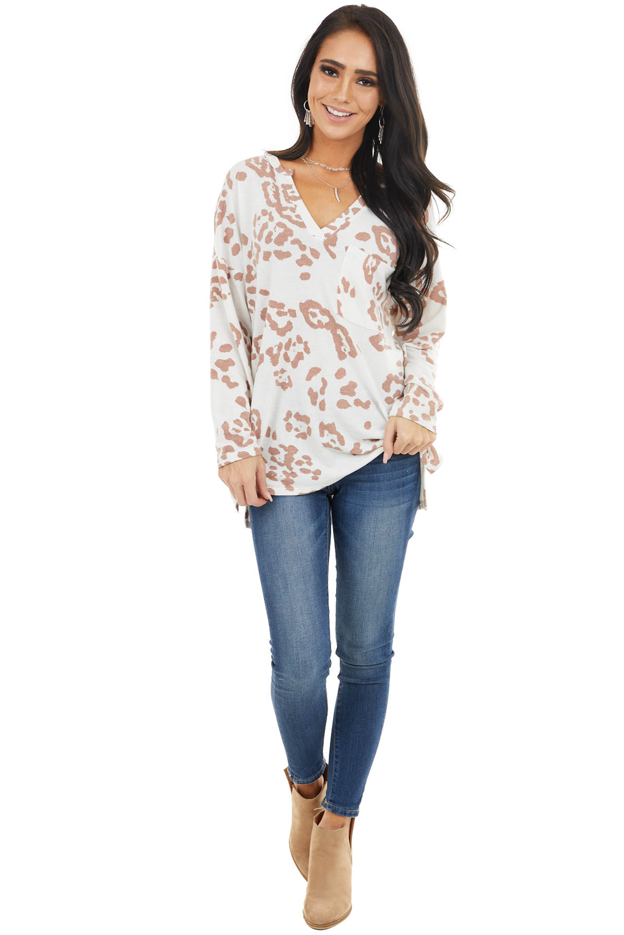 Ivory Leopard Print Long Sleeve Top with Front Pocket