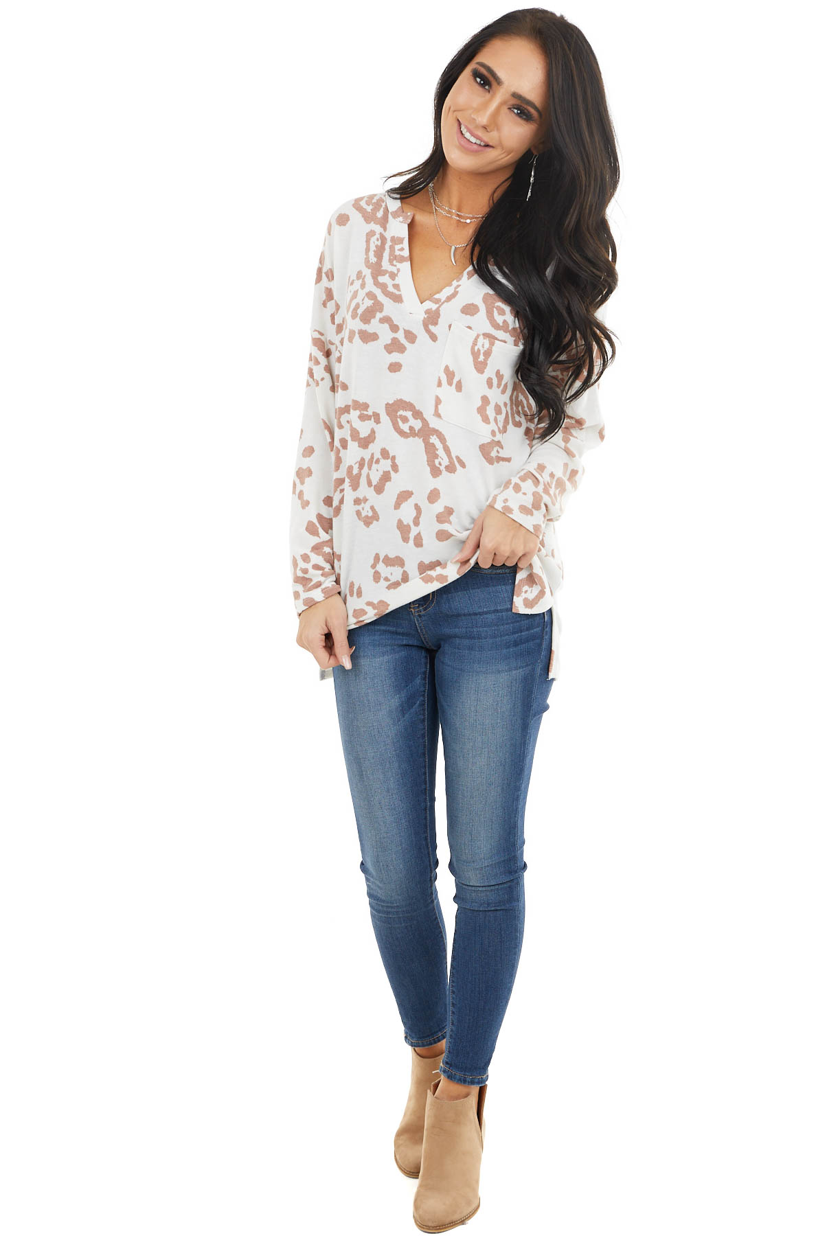 vIvory Leopard Print Long Sleeve Top with Front Pocket
