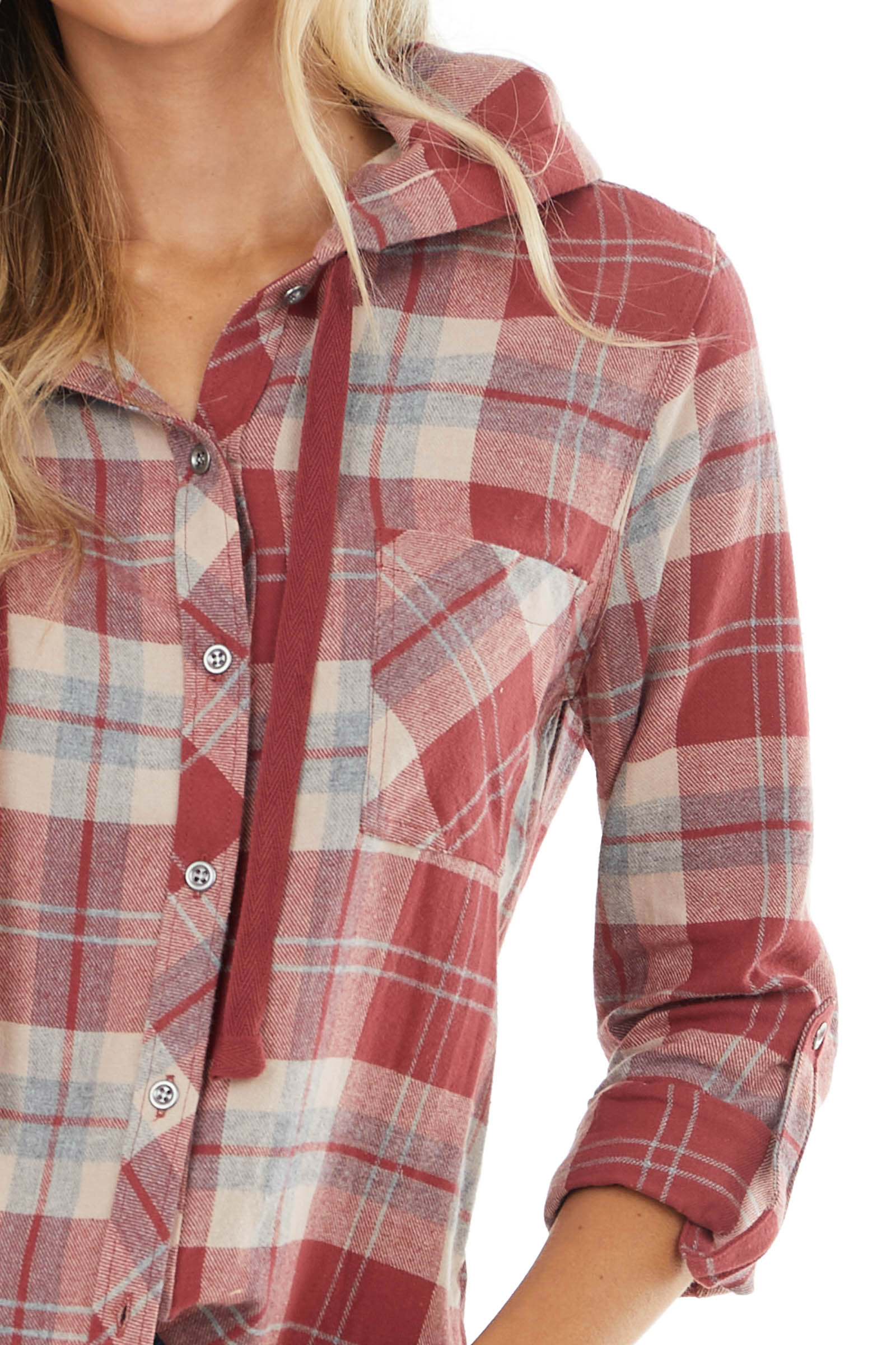 Brick Red Plaid Button Up Top with Drawstring Hood
