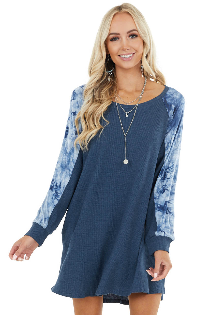 Light Navy Waffle Knit Long Sleeve Dress with Tie Dye Detail
