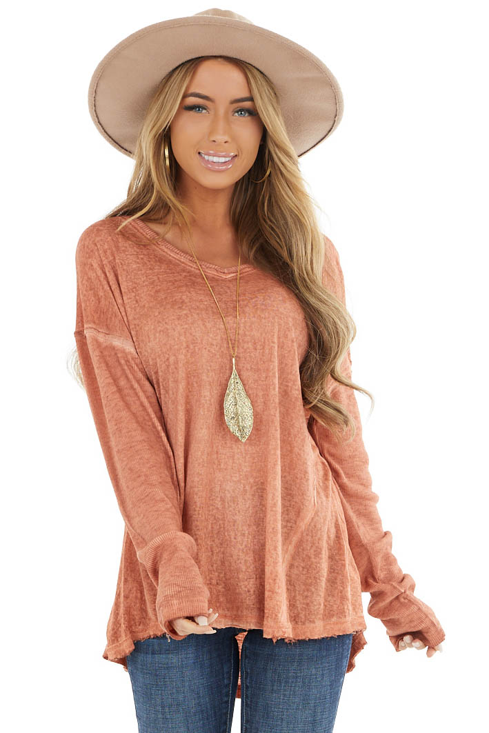 Heathered Terracotta Knit Top with Ribbed Knit Details