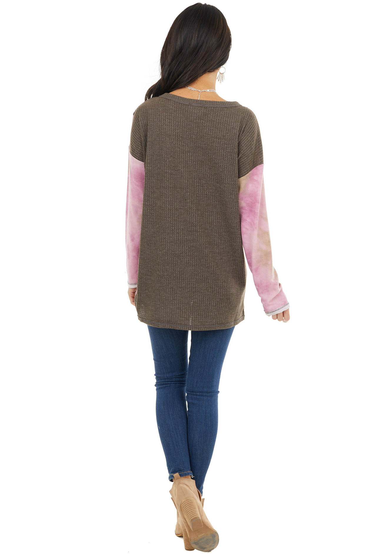 Taupe and Blush Colorblock Long Sleeve Top with Tie Dye