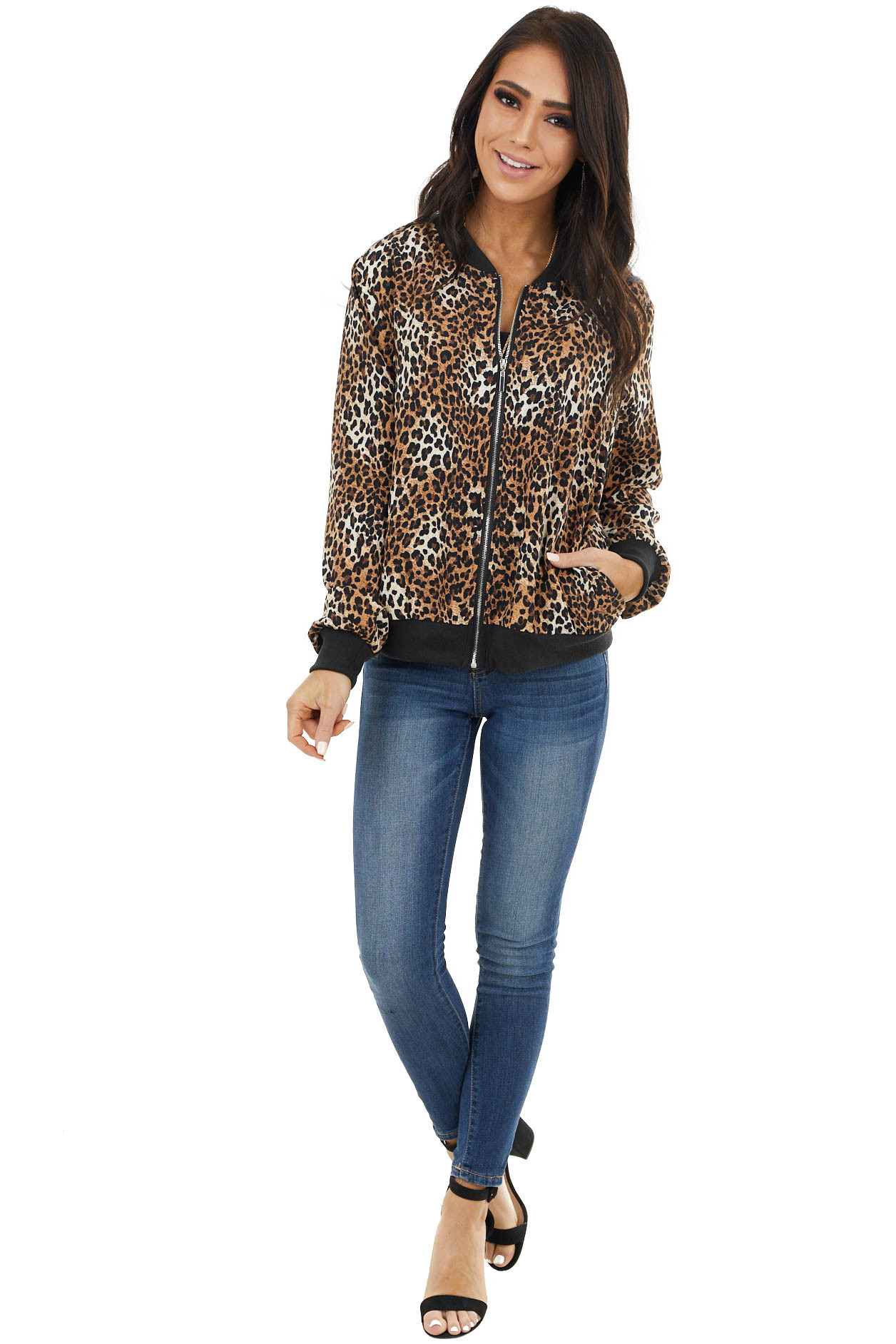 Camel Leopard Print Zip Up Jacket with Long Sleeves