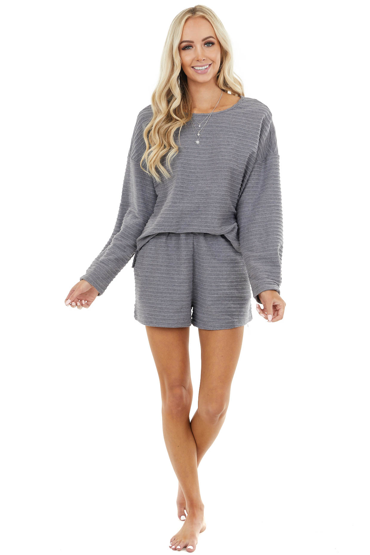Charcoal Textured Long Sleeve Top and Shorts Lounge Set