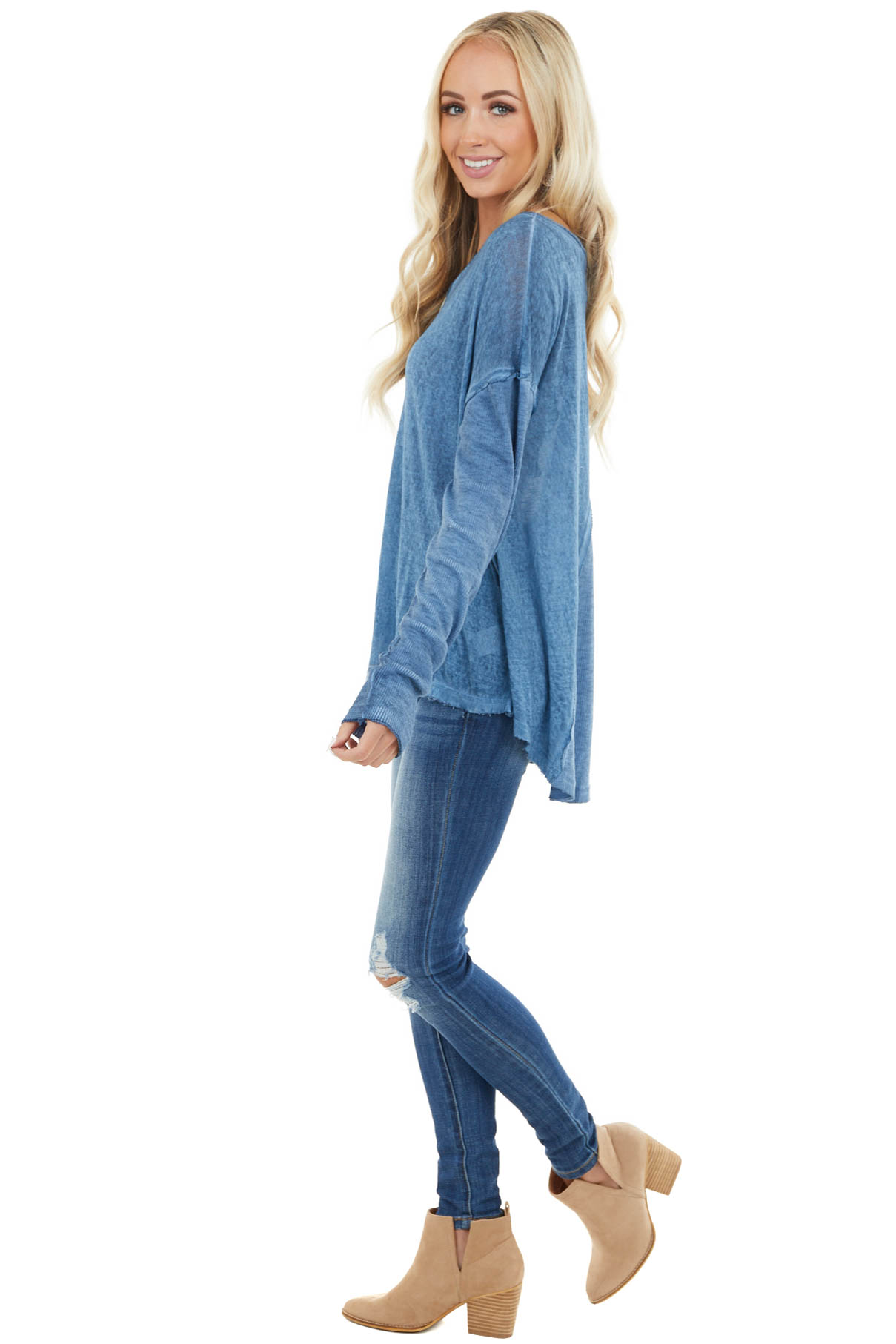 Heathered Blue Knit Top with Ribbed Knit Details