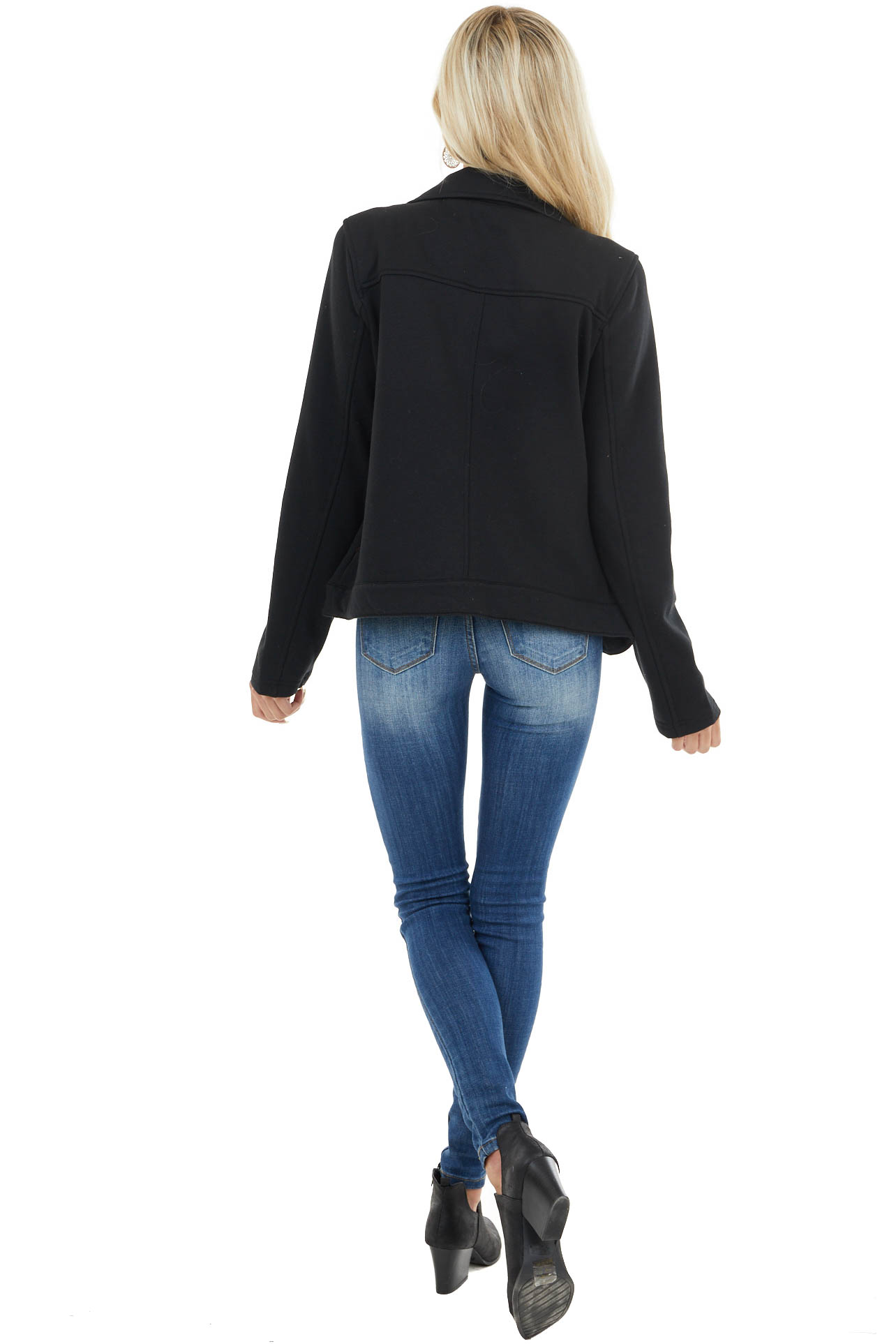 Black Knit Long Sleeve Moto Jacket with Zipper and Pockets