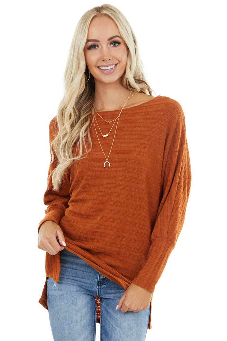 Pumpkin Textured Stretchy Knit Top with Dolman Sleeves