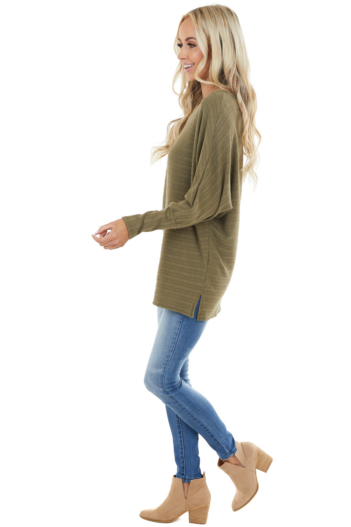 Dusty Olive Textured Stretchy Knit Top with Dolman Sleeves