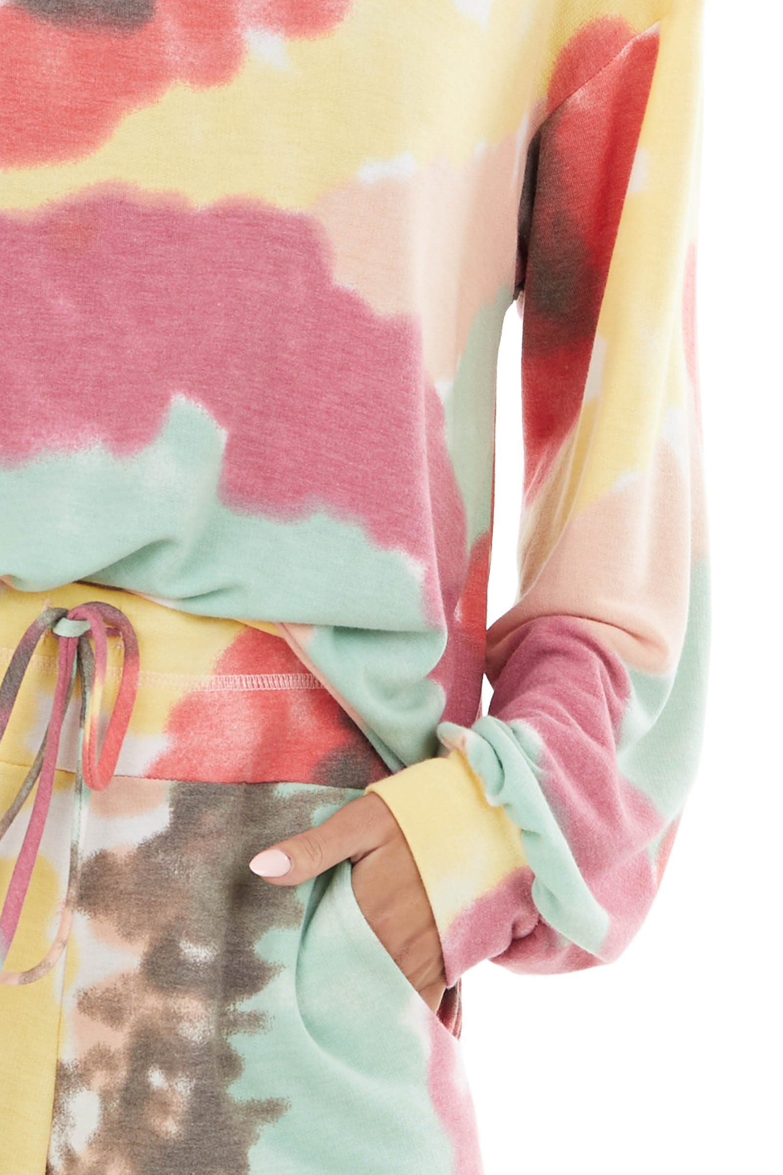 Multicolor Tie Dye Long Sleeve Knit Top with Round Neck