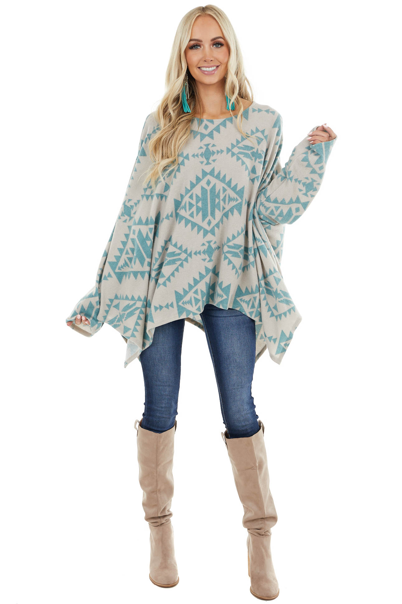 Dove Grey and Teal Tribal Print Long Sleeve Poncho Top
