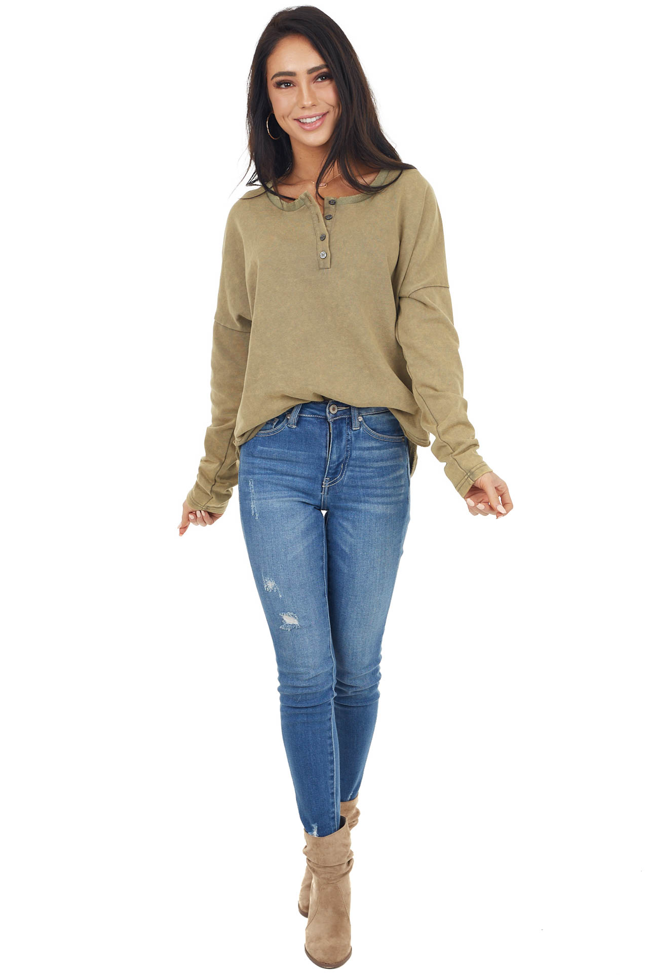 Pistachio Mineral Wash Long Sleeve Henley Top