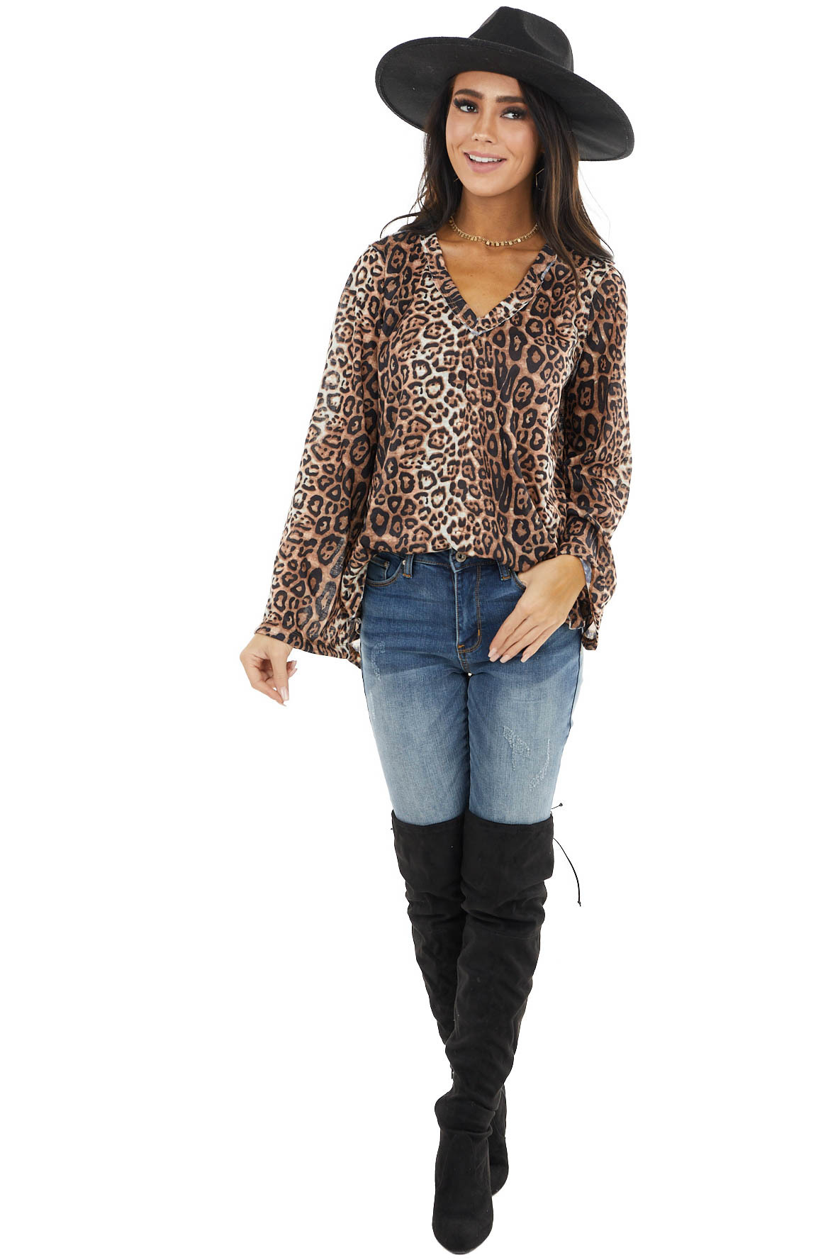 Camel Leopard Print Long Sleeve Top with Raw Details
