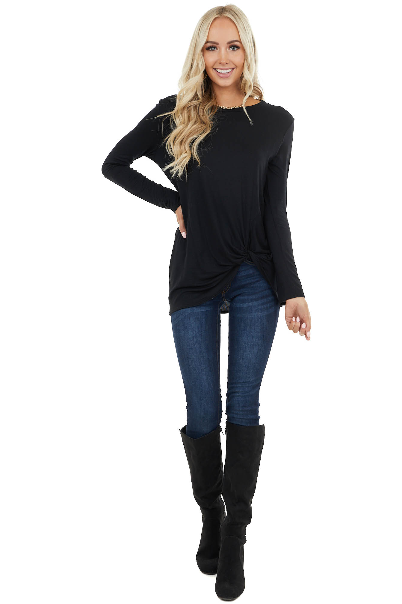 Black Long Sleeve Knit Top with Side Hem Knot Detail
