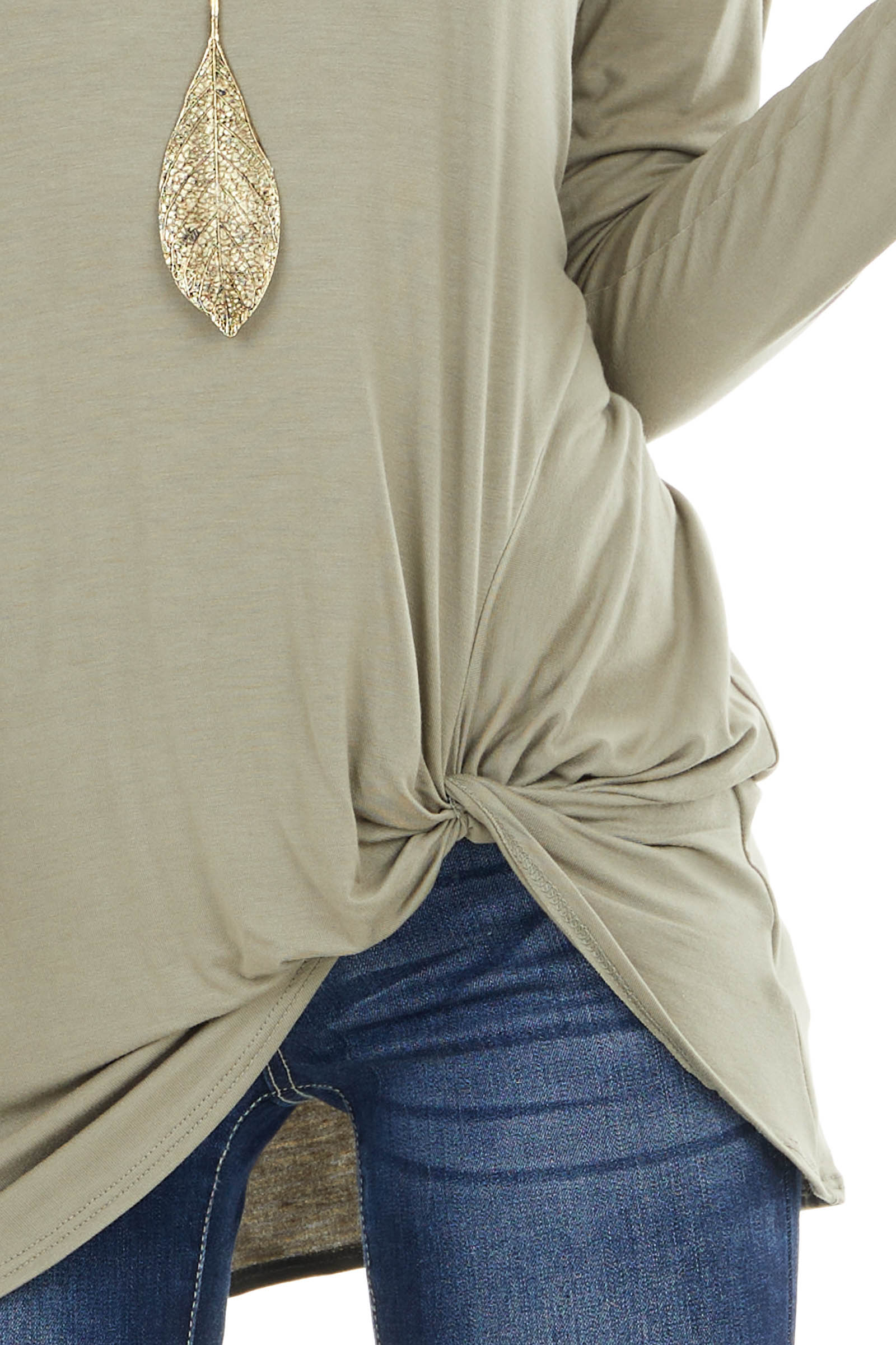 Sage Long Sleeve Knit Top with Side Hem Knot Detail