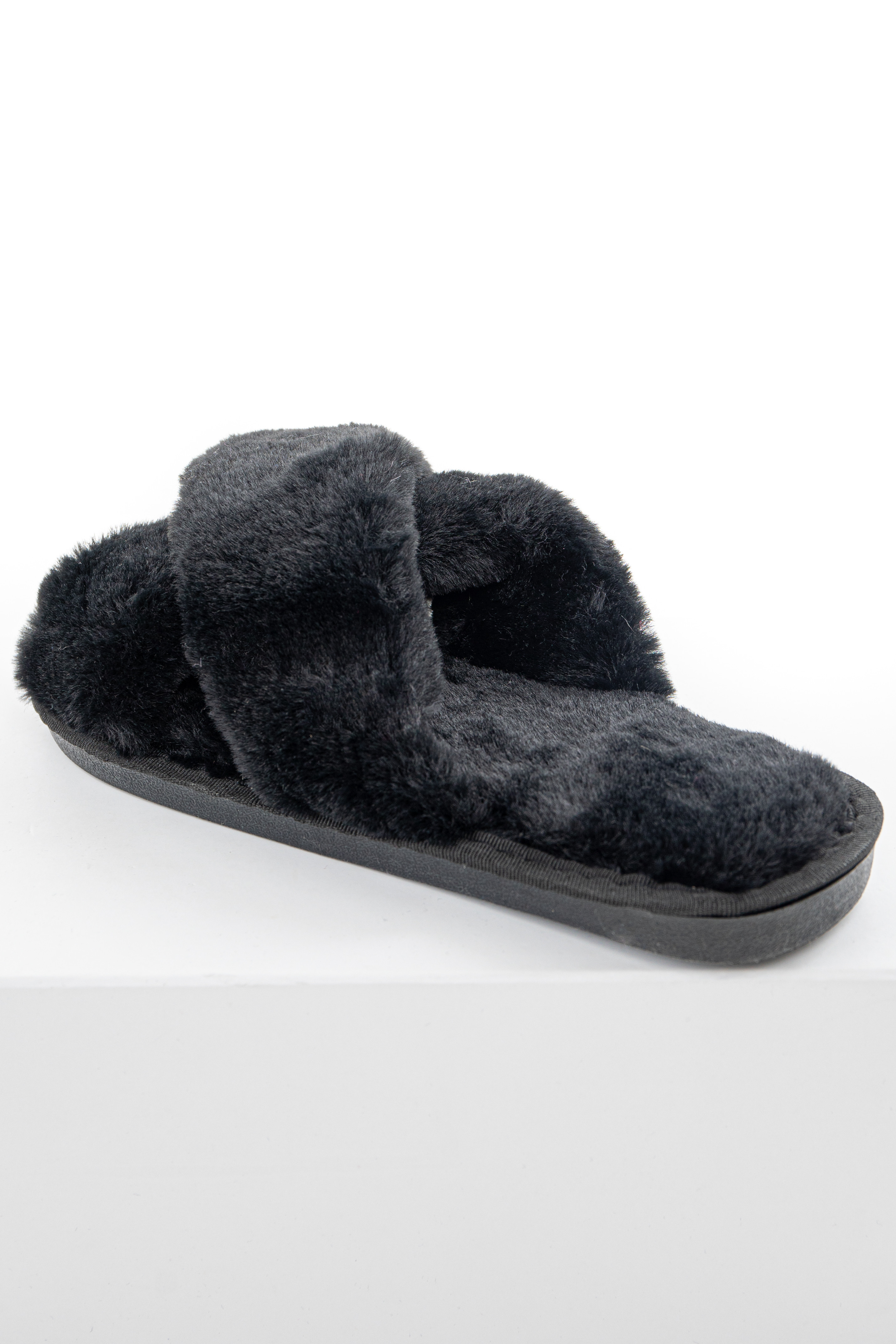 Black Super Soft Fuzzy Slippers with Criss Cross Straps