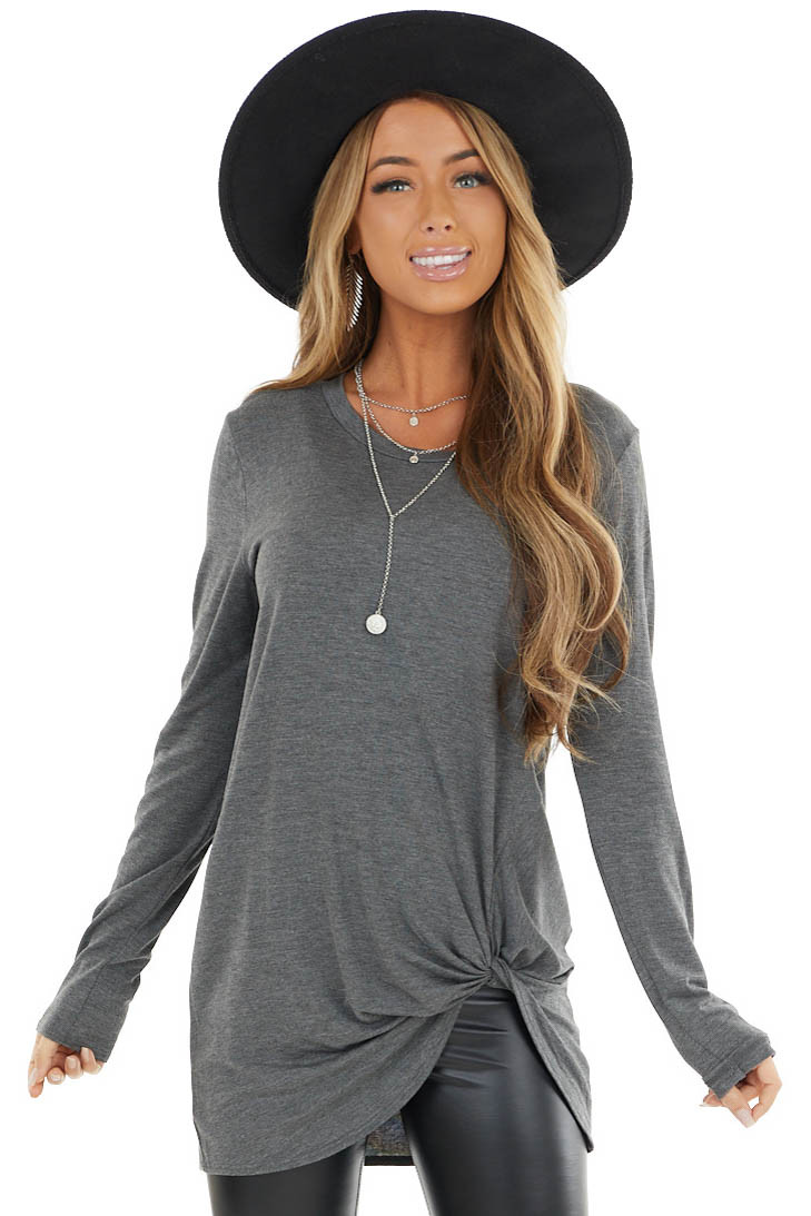Charcoal Long Sleeve Knit Top with Side Hem Knot Detail