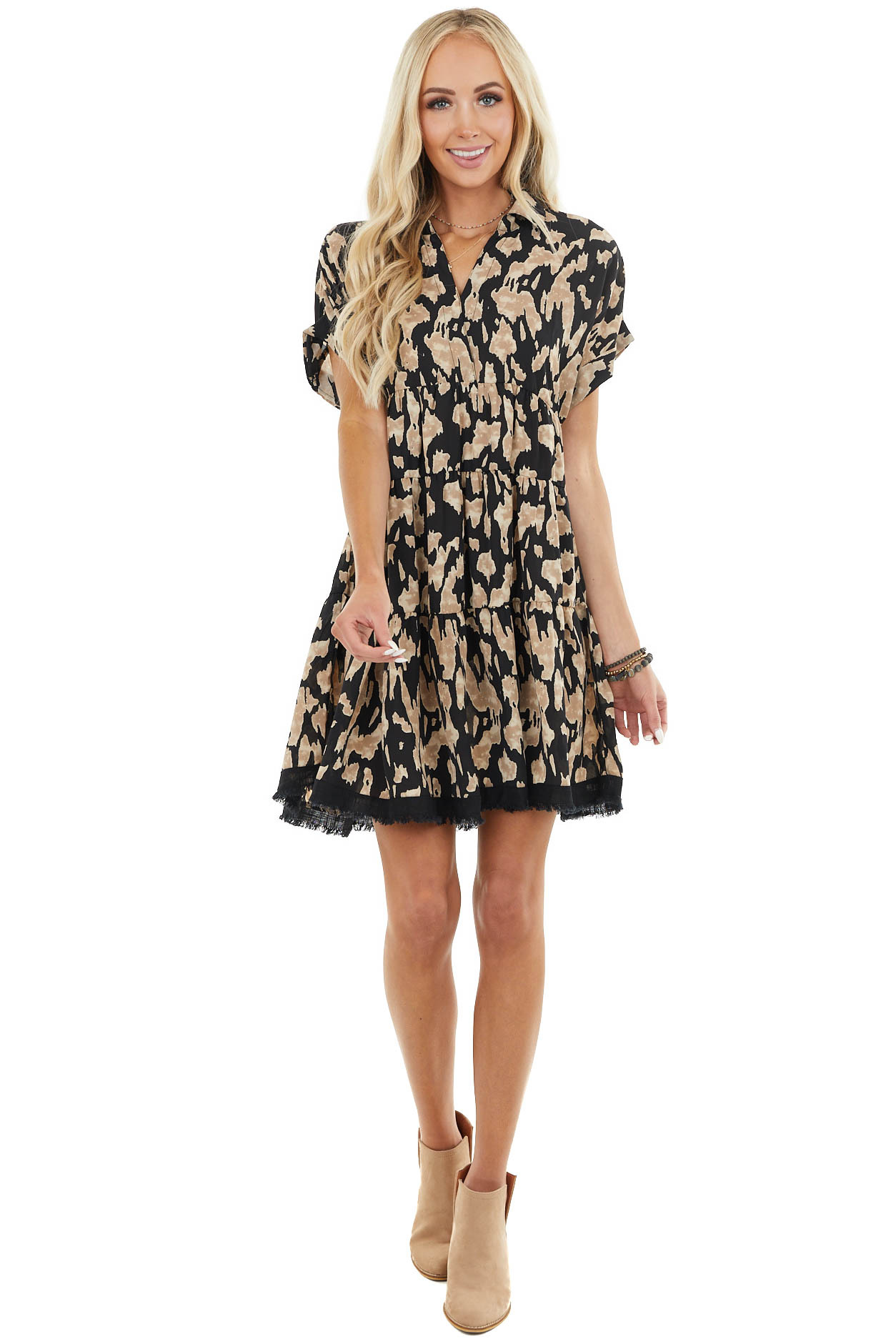 Latte and Black Printed Short Sleeve Dress with V Neck