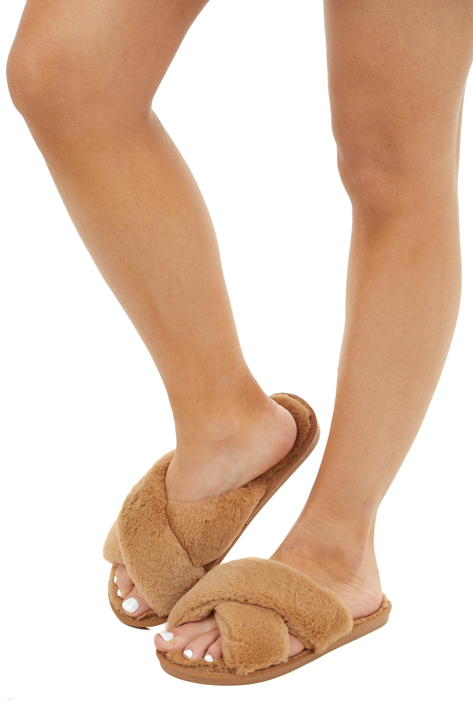 Camel Super Soft Fuzzy Slippers with Criss Cross Straps