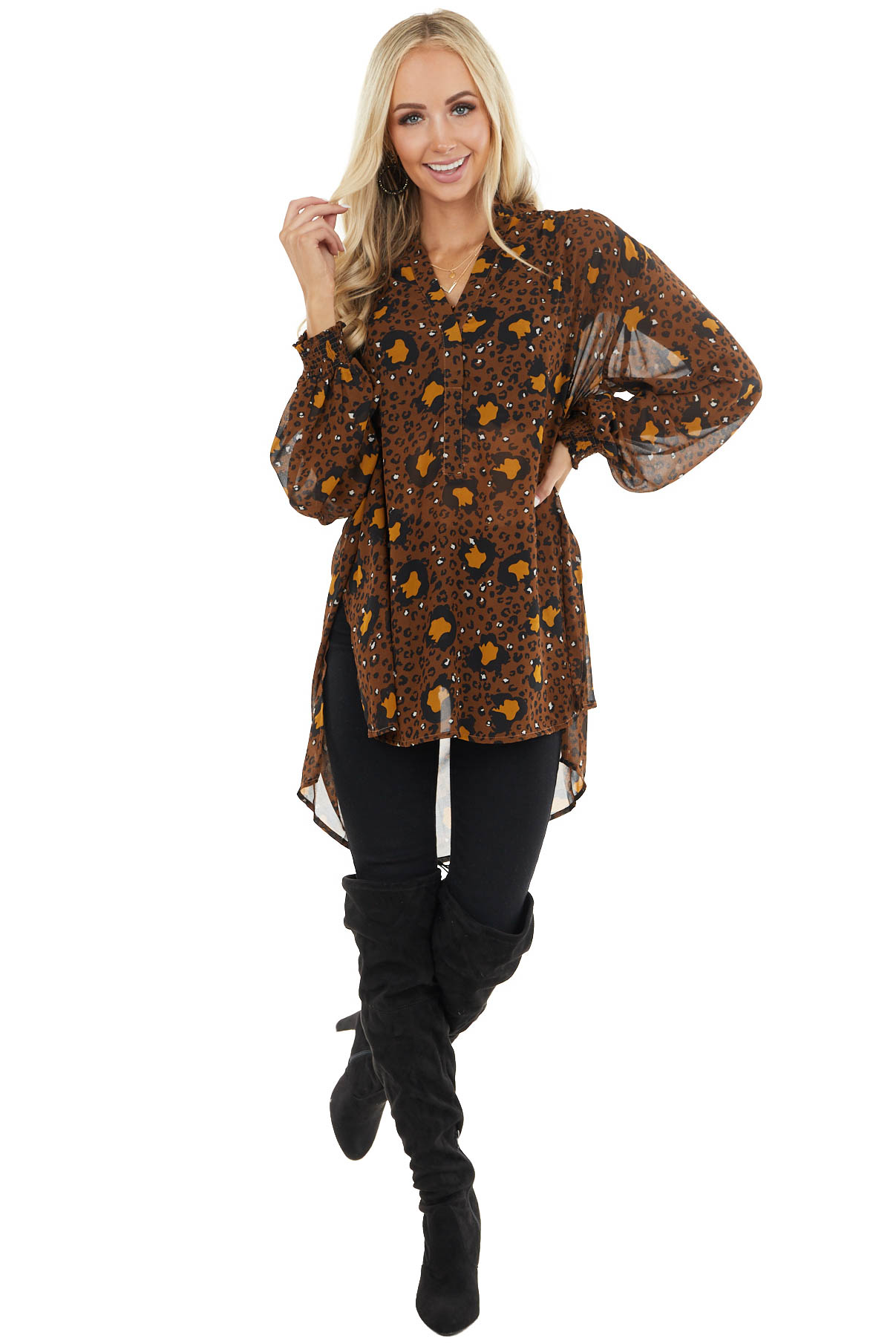 Cognac Leopard Print Oversized Tunic Top with Side Slits