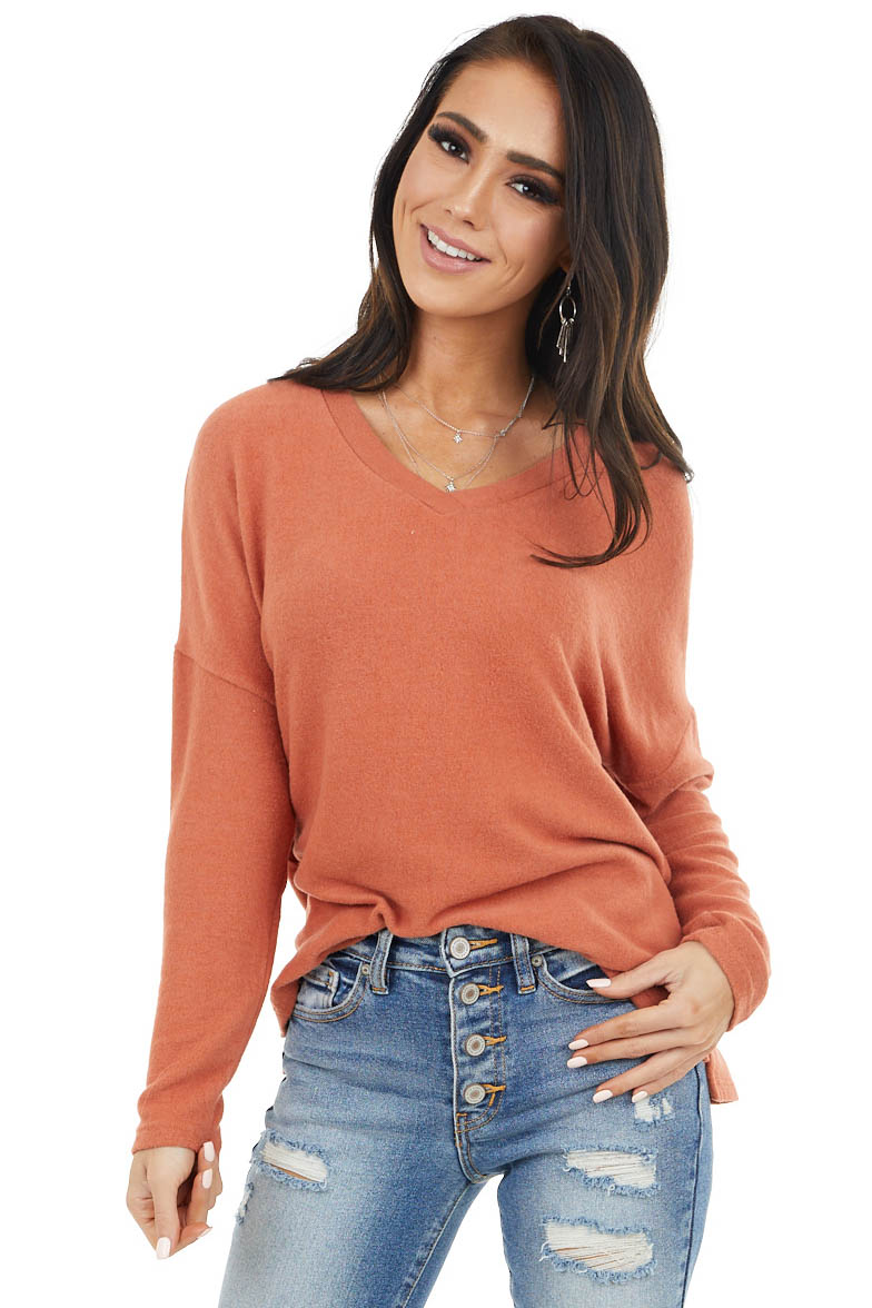 Terracotta Soft Long Sleeve Knit Top with V Neck