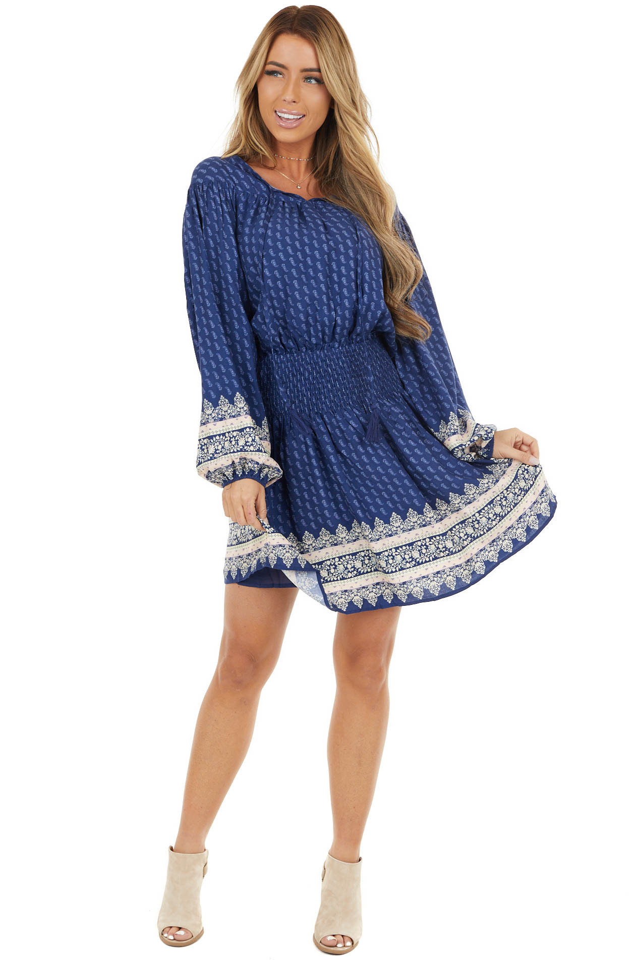 Navy Paisley Dress with Smocked Waist and Floral Details