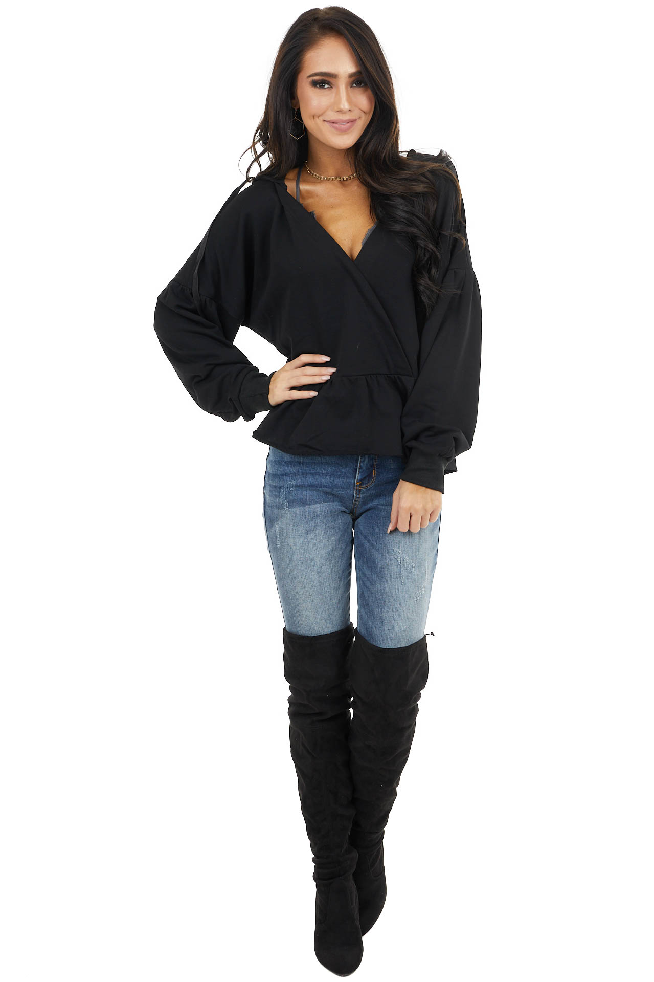 Black Long Sleeve Cropped Knit Hoodie with Drawstrings