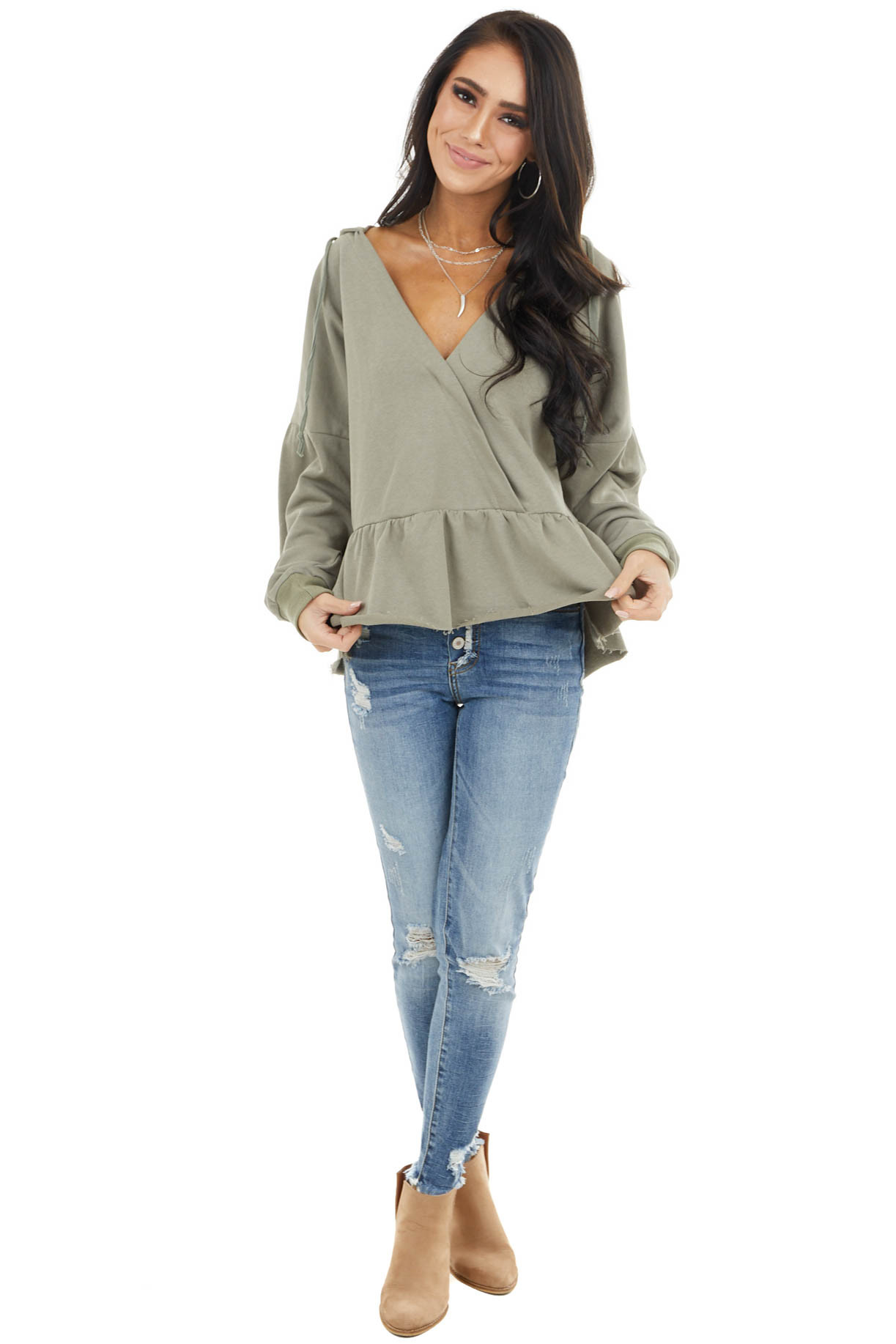 Sage Long Sleeve Cropped Knit Hoodie with Drawstrings