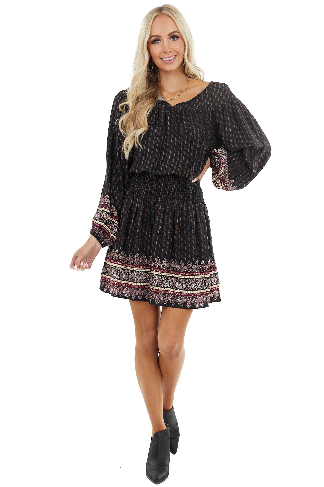 Black Paisley Dress with Smocked Waist and Floral Details