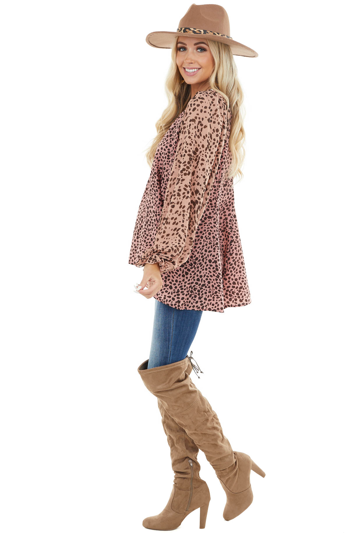 Dusty Blush Cheetah Print Flowy Top with Bubble Sleeves