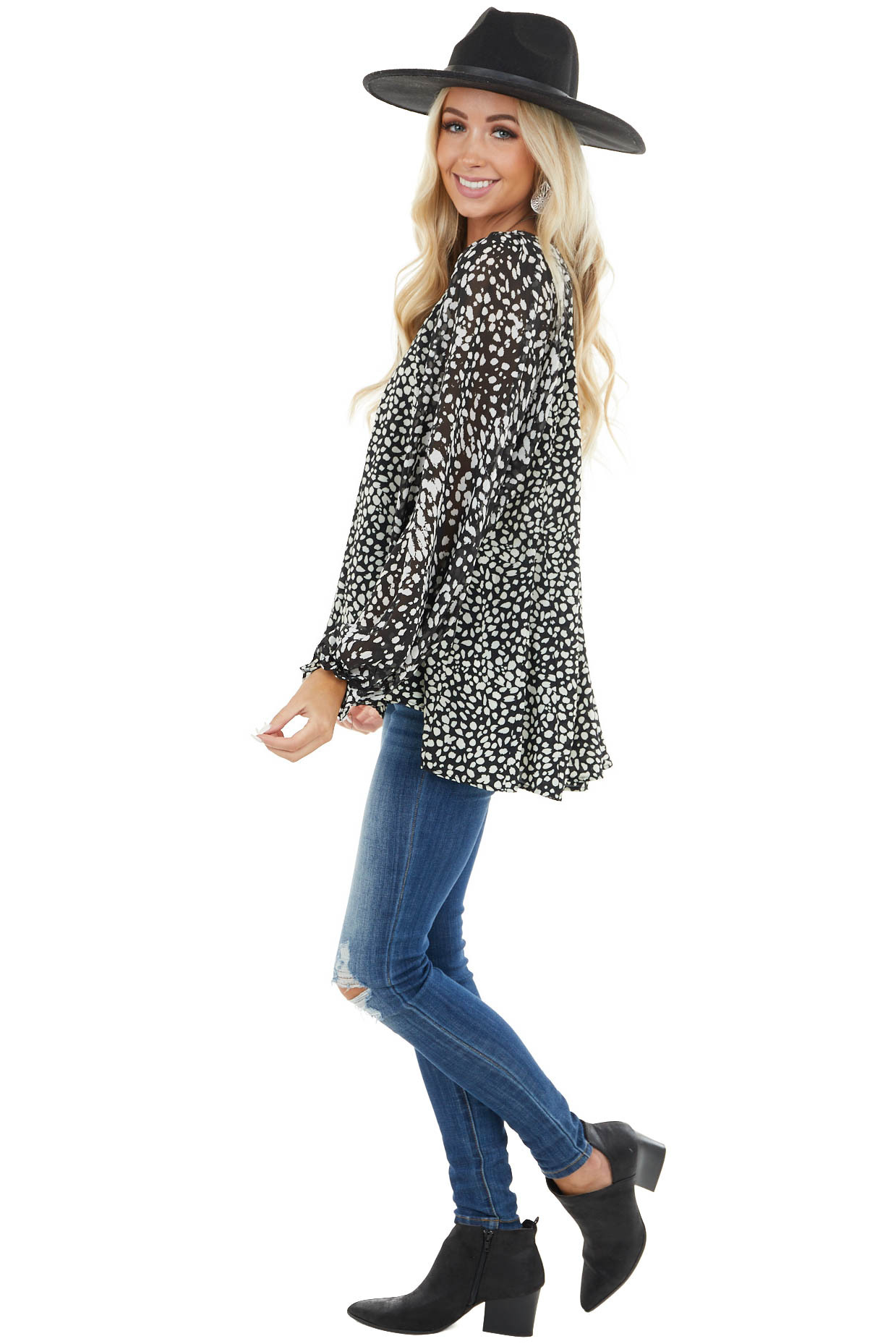 Black Cheetah Print Flowy Top with Bubble Sleeves