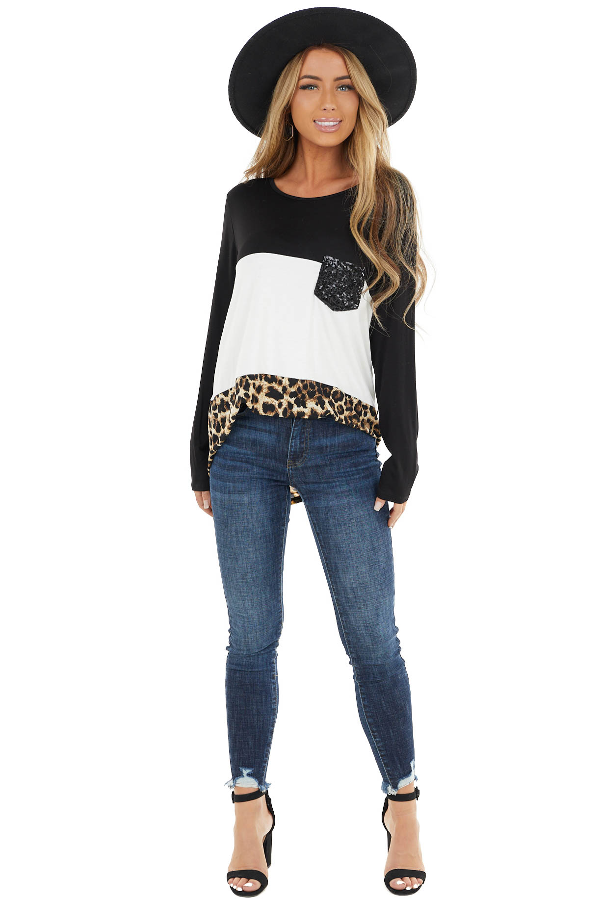 Leopard Print Long Sleeve Colorblock Top with Sequin Pocket