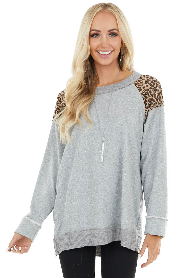 Heather Grey Long Sleeve Top with Leopard Print on Shoulders