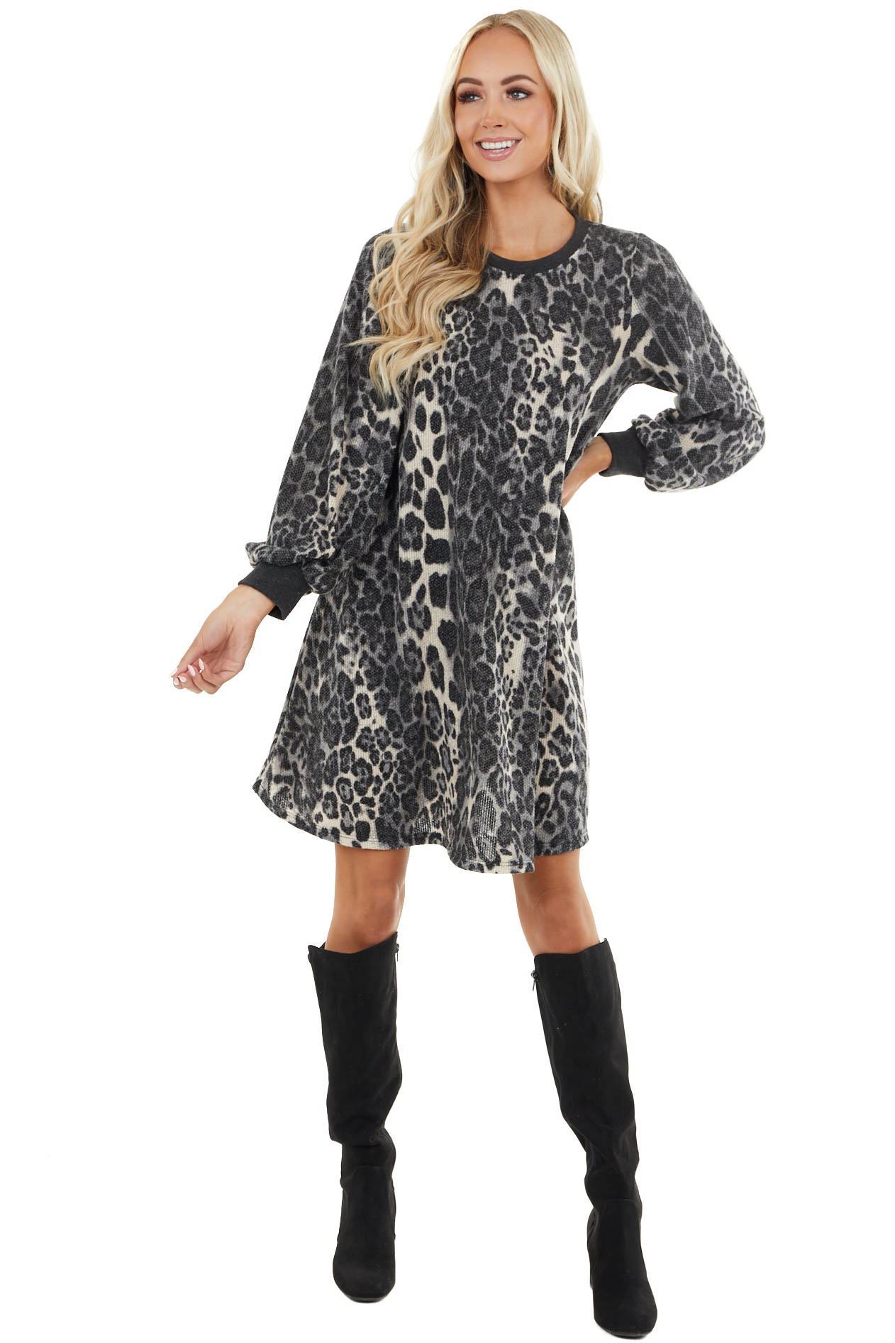 Grey Leopard Print Mini Swing Dress with Long Sleeves