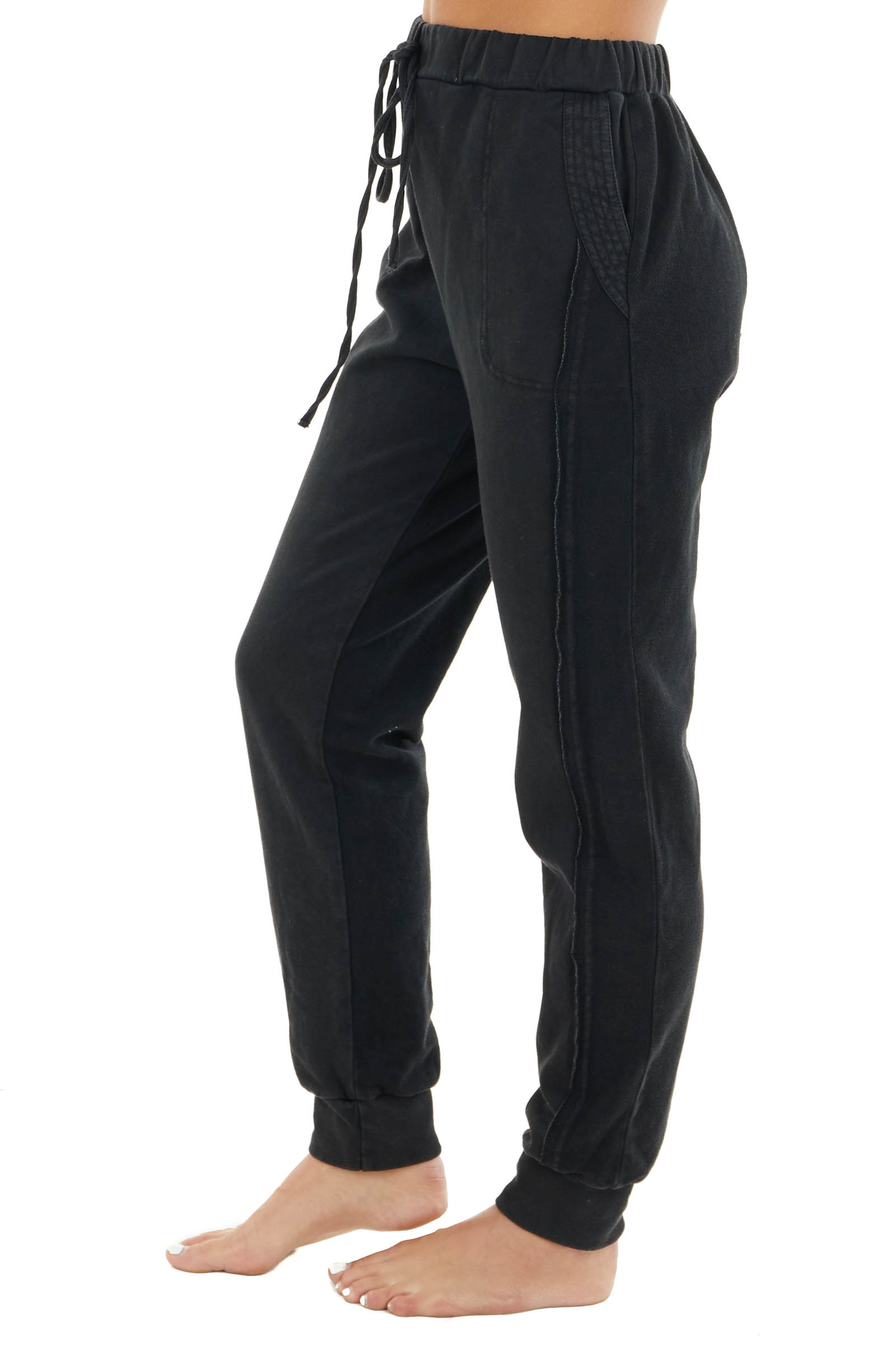 Black Elastic Waist and Drawstring Joggers with Pockets