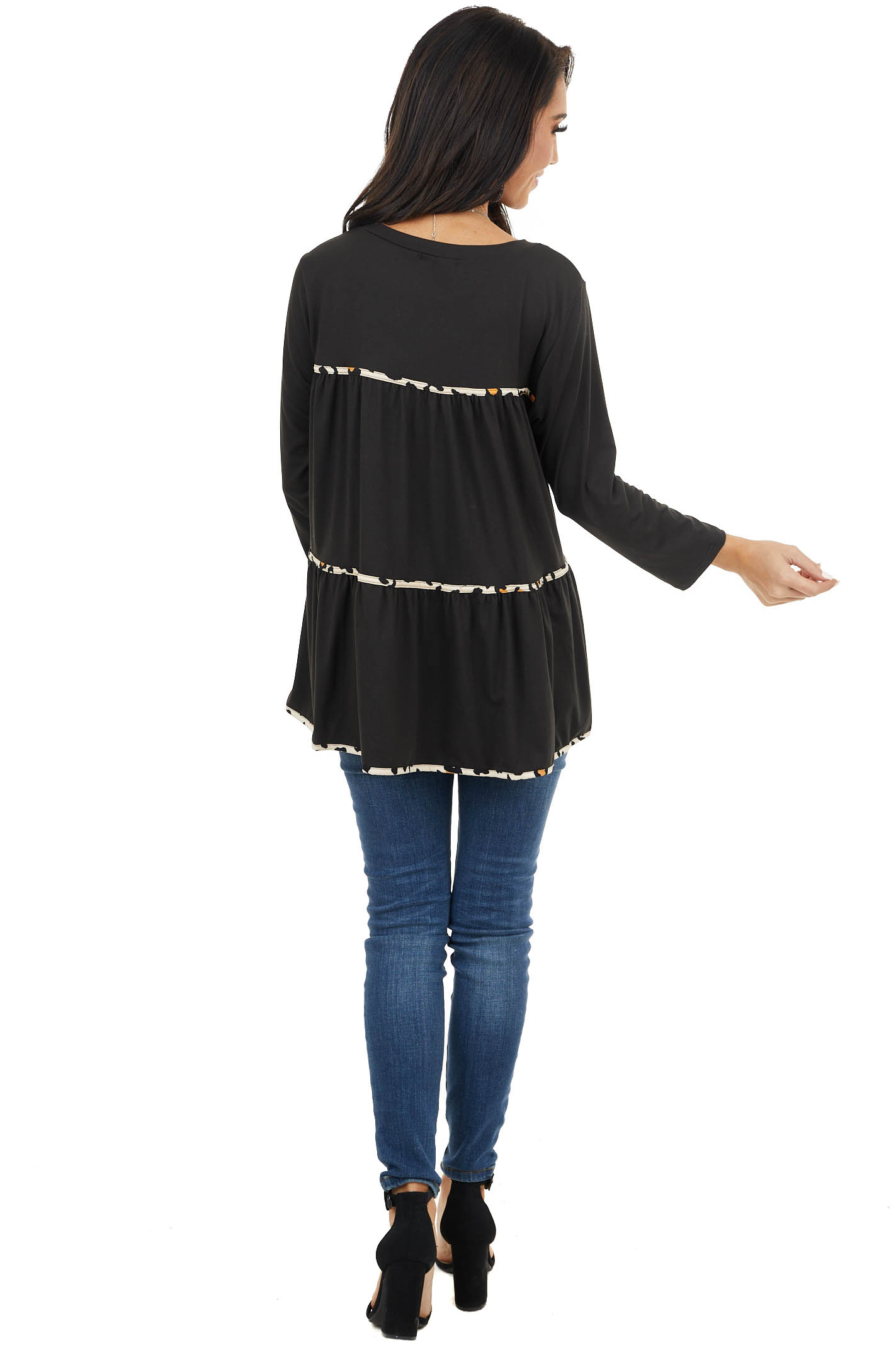 Black Tiered Long Sleeve Top With Leopard Print Details