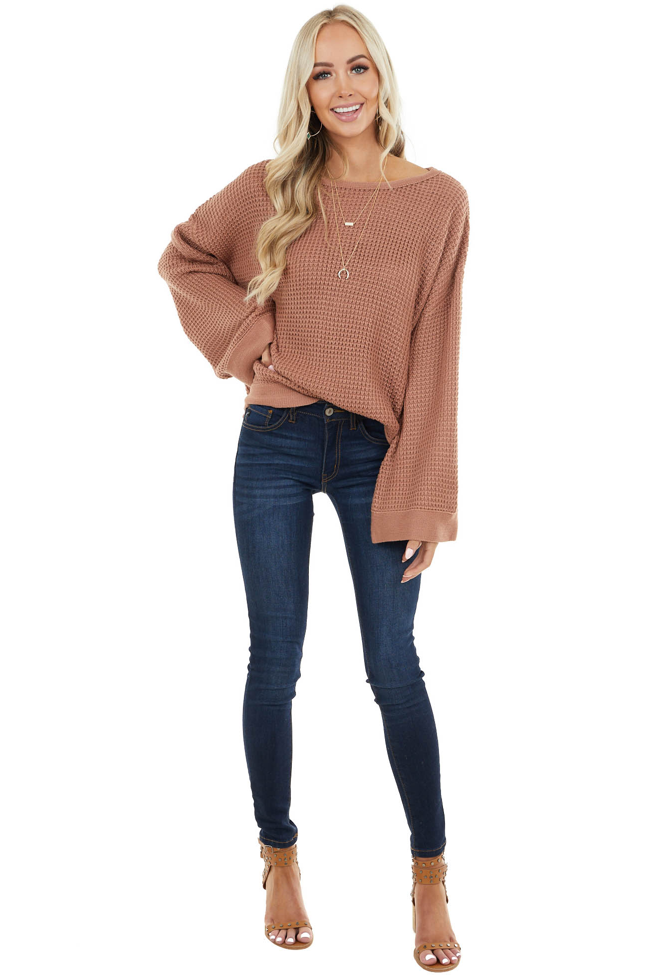 Light Sienna Stretchy Knit Sweater with Long Bell Sleeves