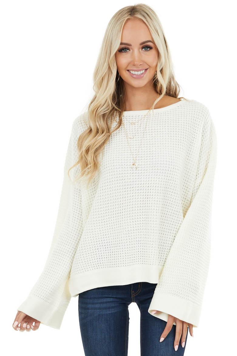 Ivory Stretchy Knit Sweater with Long Bell Sleeves