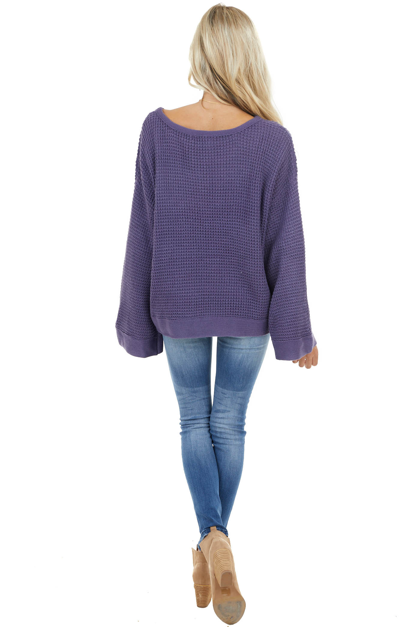 Indigo Stretchy Knit Sweater with Long Bell Sleeves
