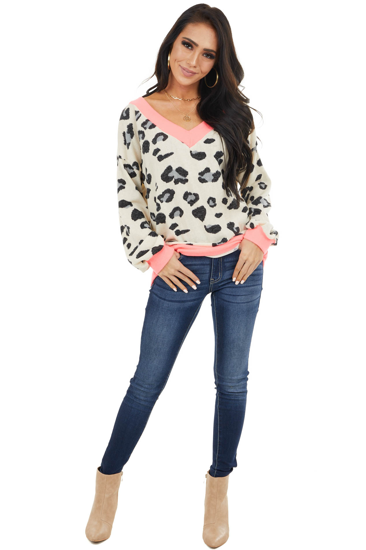 Ivory Leopard Print Long Sleeve Top with Contrast Trim