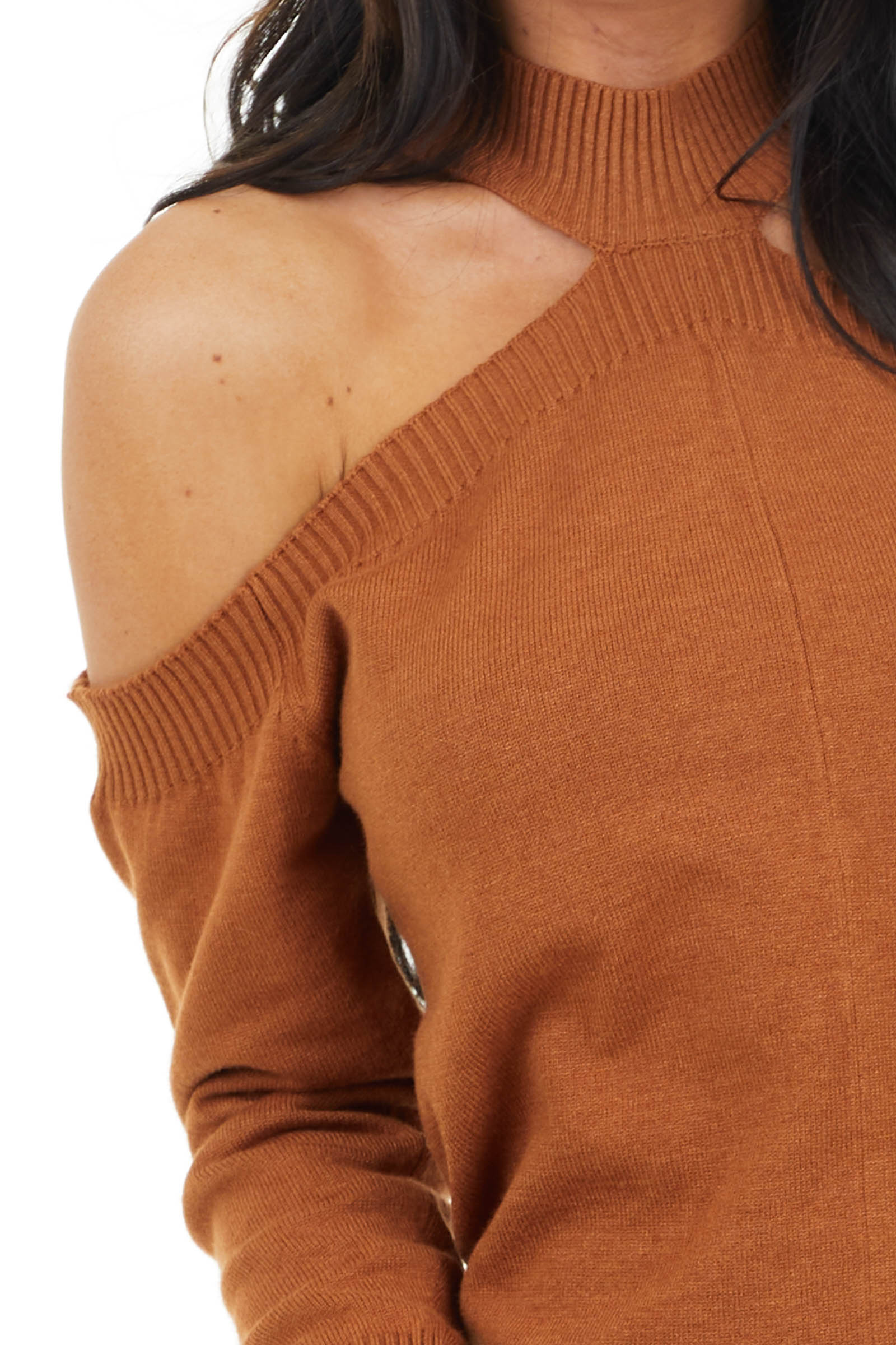 Cognac Mock Neck Soft Stretchy Knit Top with Cold Shoulders