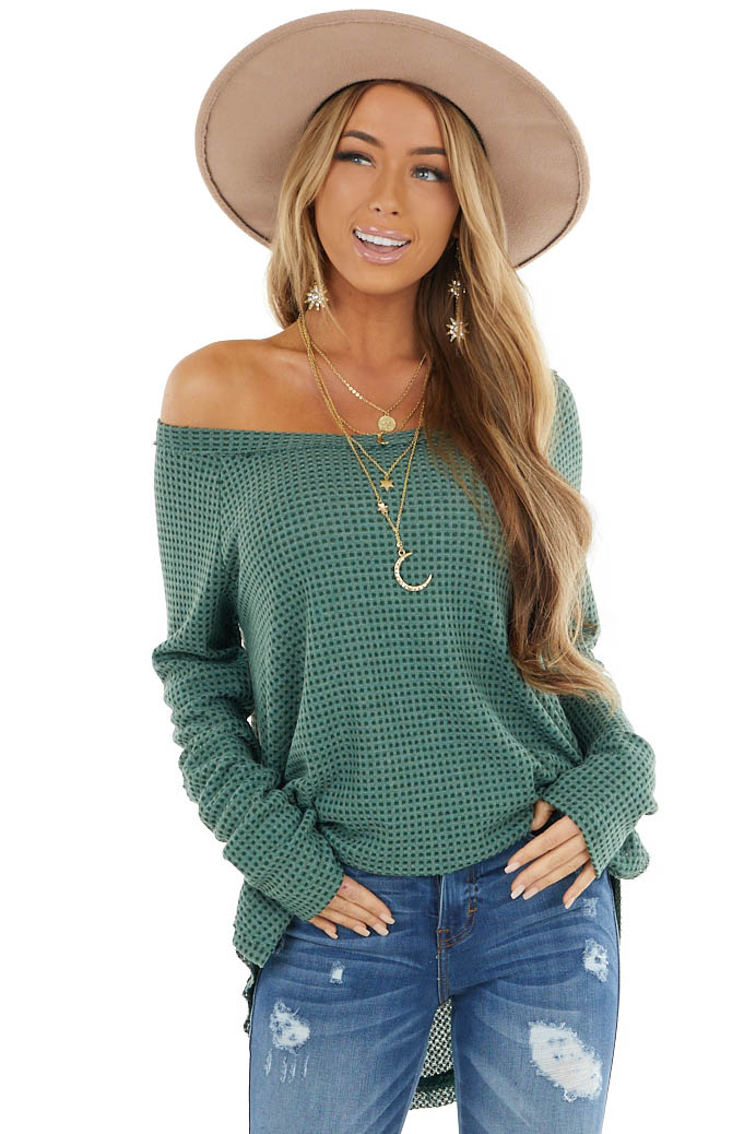Forest Green Waffle Knit Long Sleeve Top with Thumb Holes