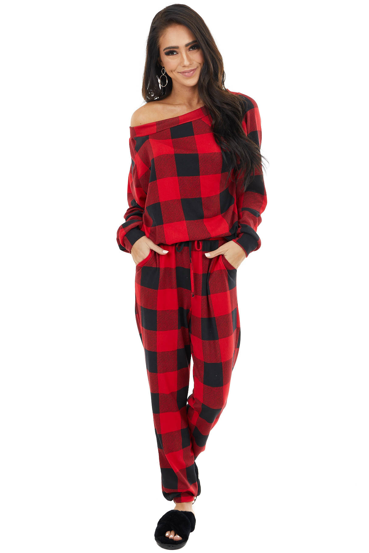 Ruby Red Buffalo Plaid Long Sleeve Top with Wide Neckline