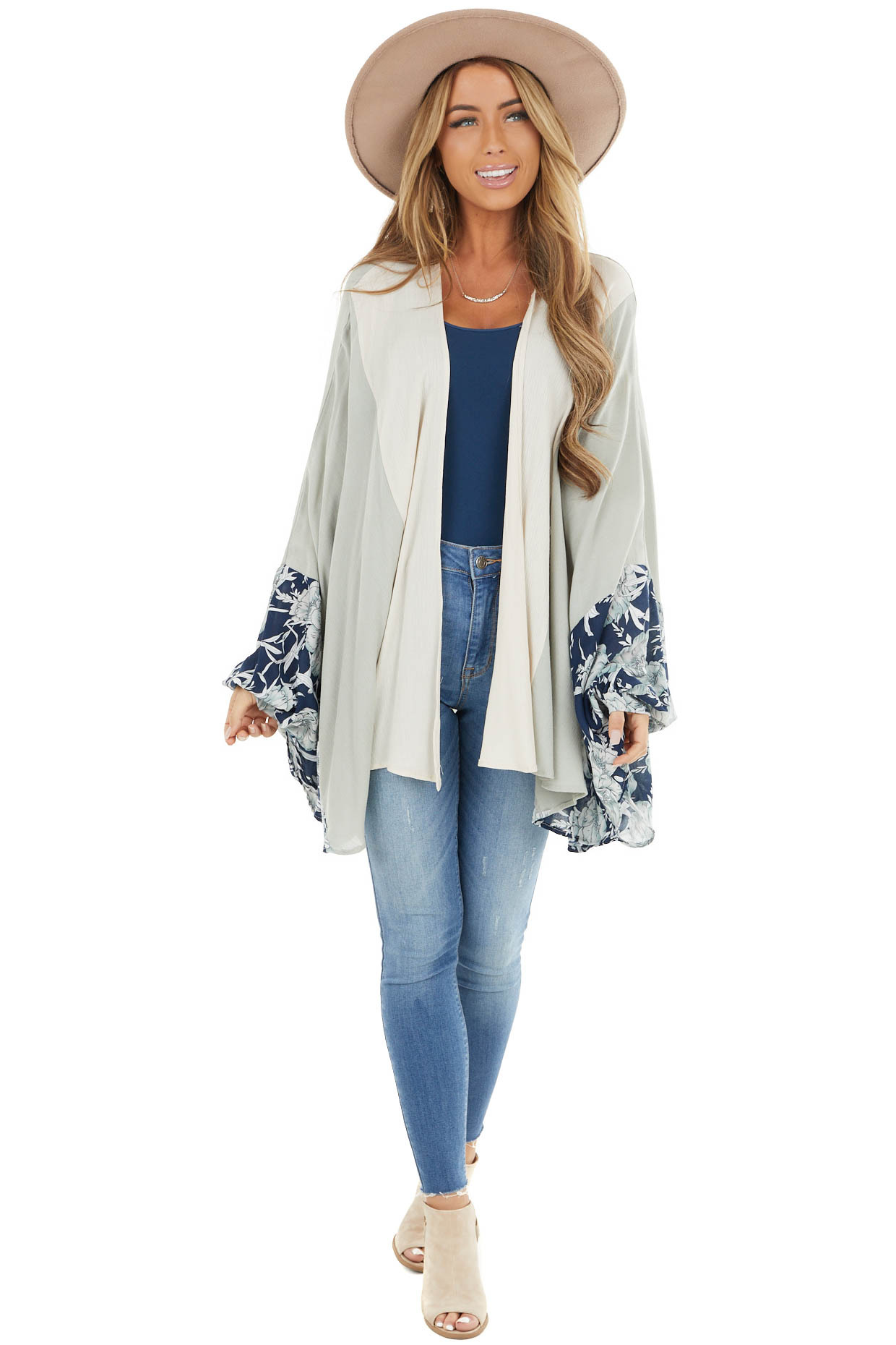 Sage and Cream Woven Kimono with Navy Floral Details