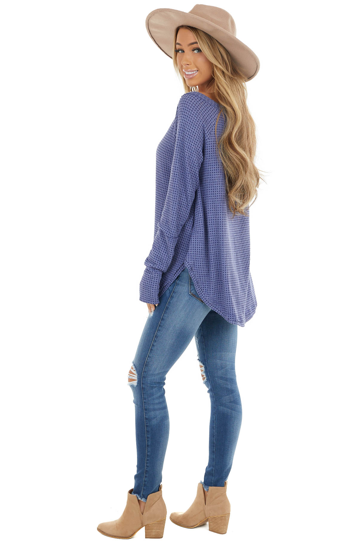 Dusty Blue Waffle Knit Long Sleeve Top with Thumb Holes