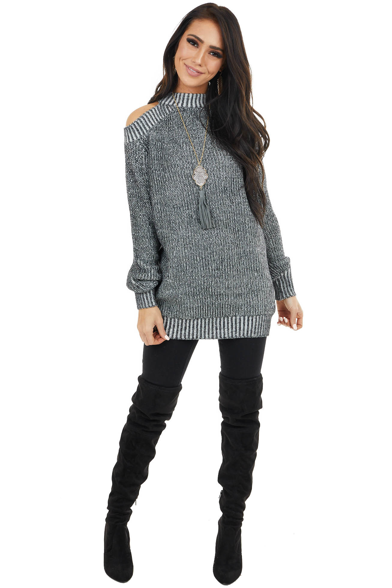 Black Two Tone Mock Neck Cold Shoulder Sweater with Cutout