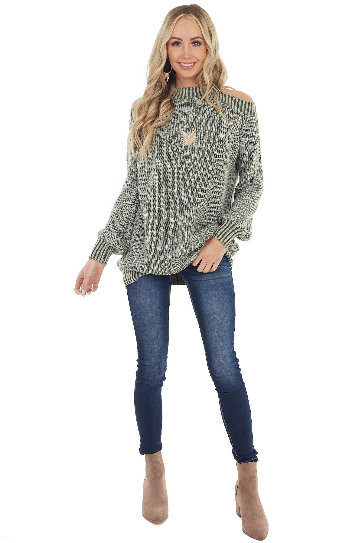 Olive Two Tone Mock Neck Cold Shoulder Sweater with Cutout