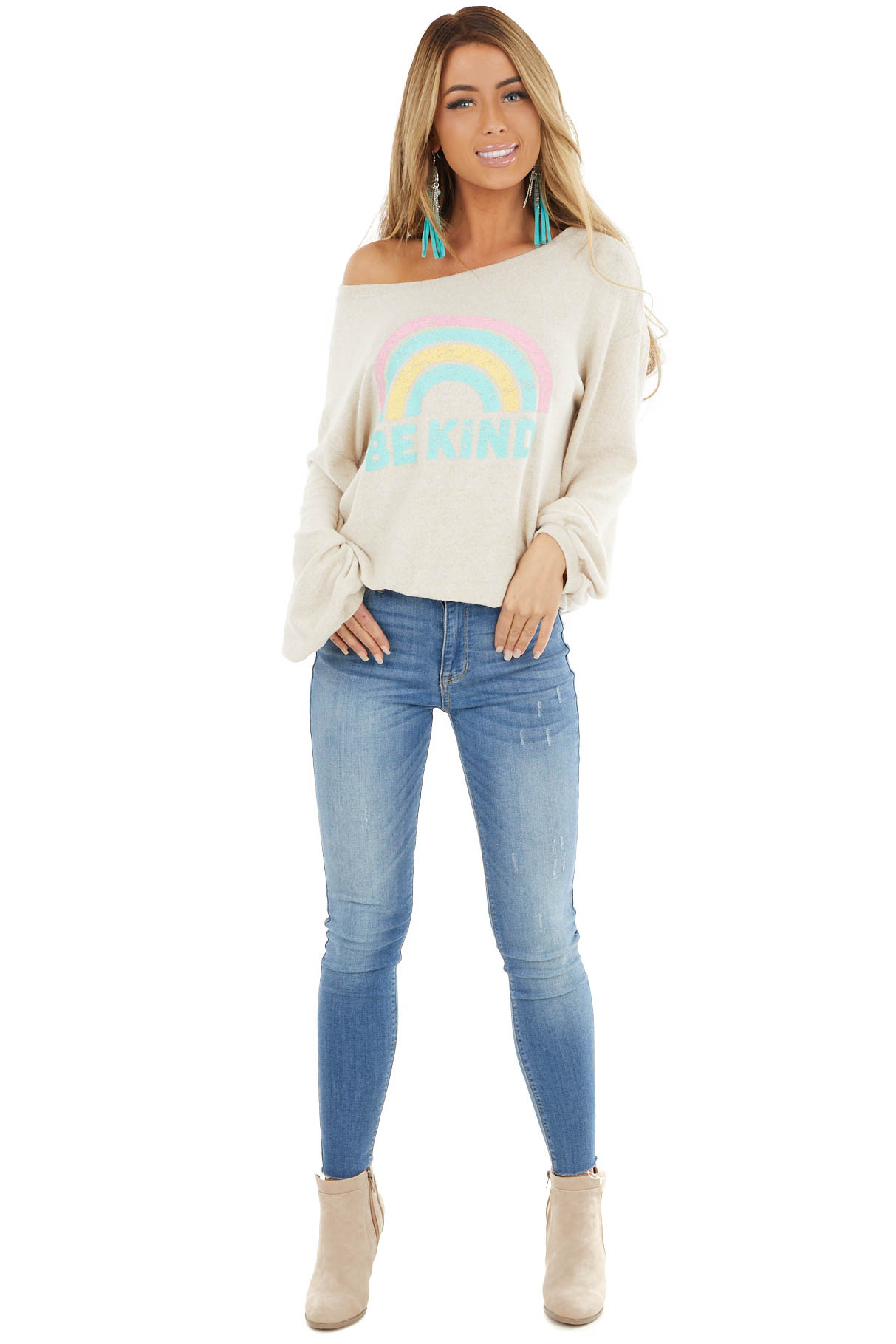 Heathered Oatmeal Soft Long Sleeve 'Be Kind' Graphic Top