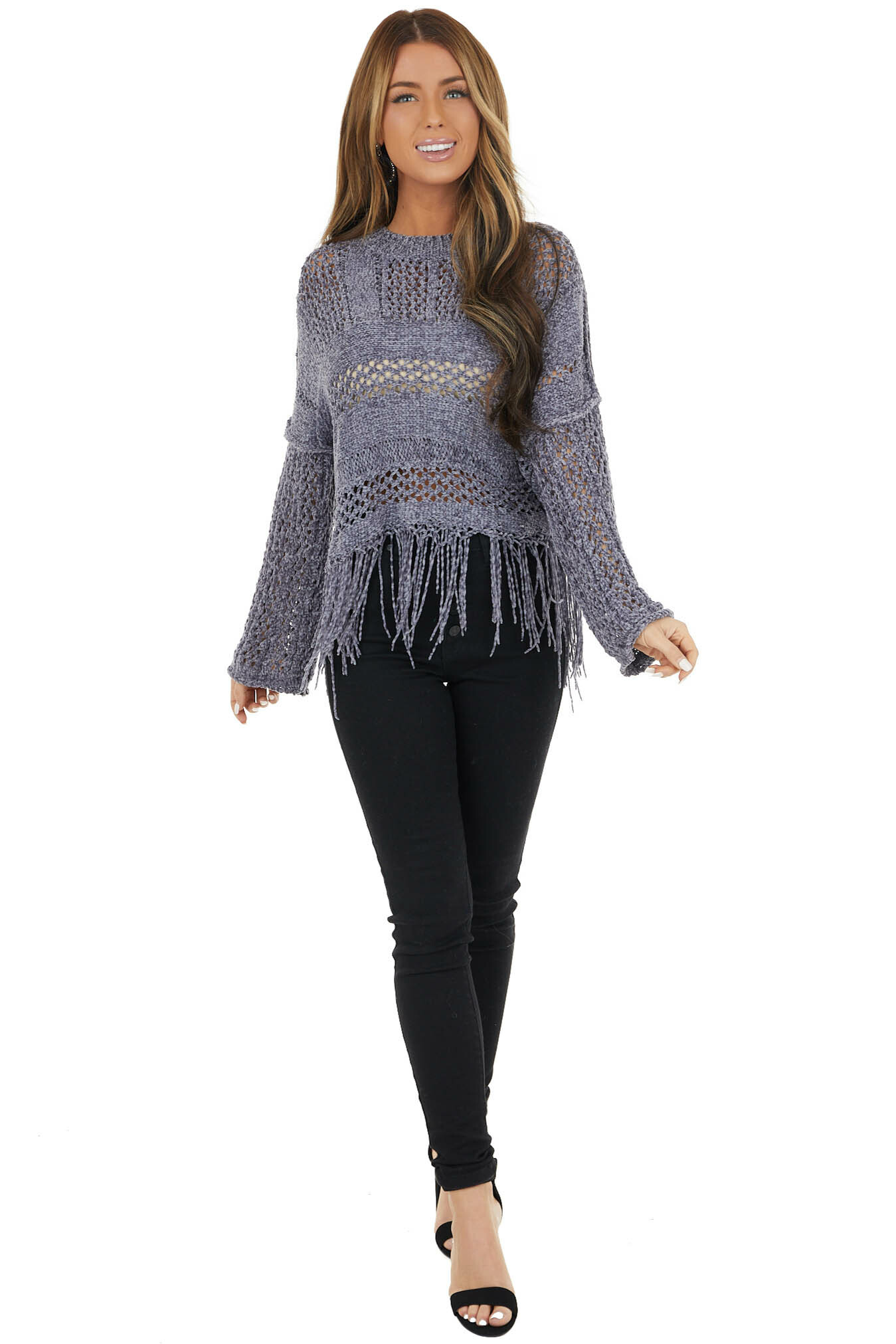 Stormy Grey Super Soft Knit Sweater with Fringe Details