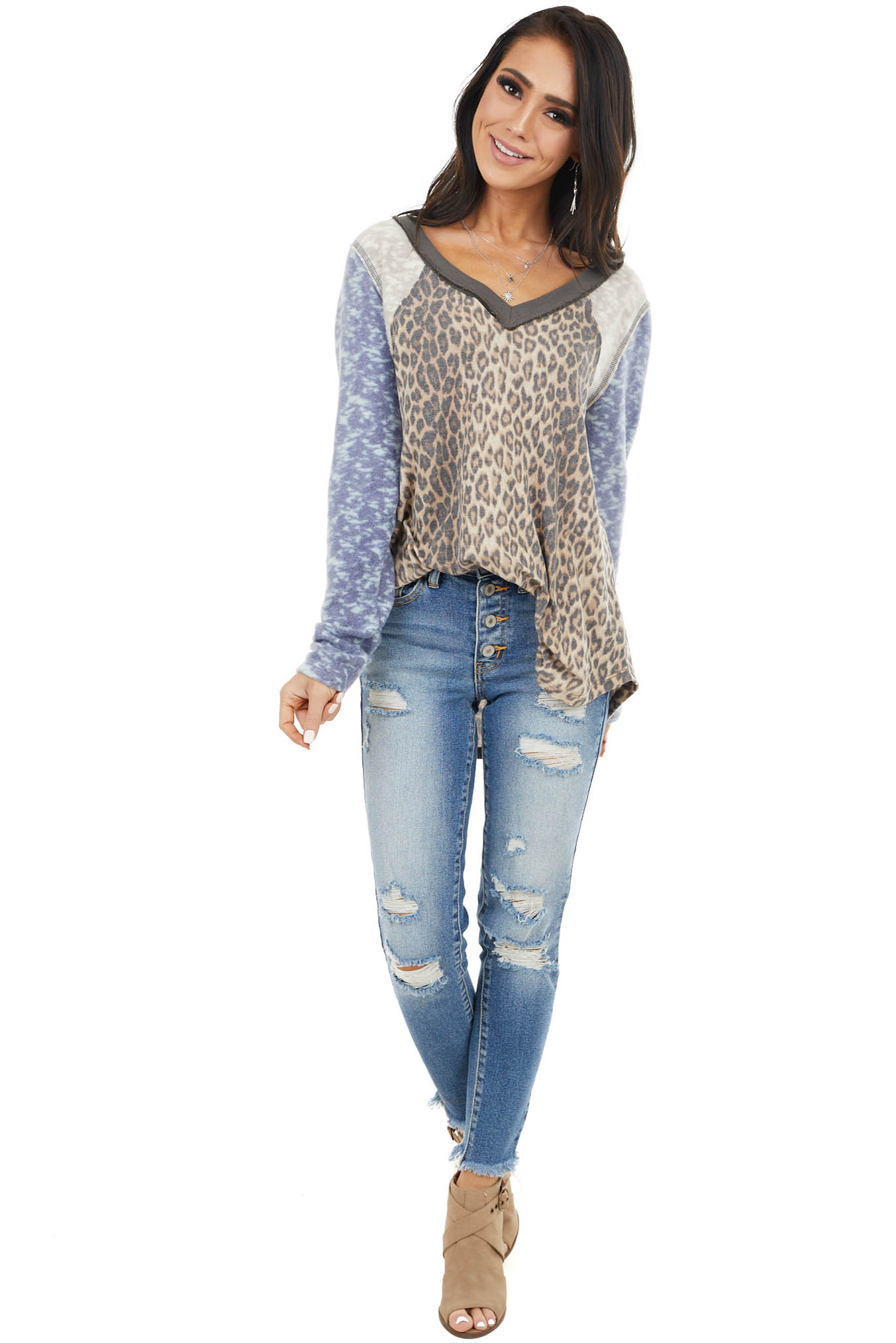 Beige Multiprint Top with Contrast Sleeves and V Neck