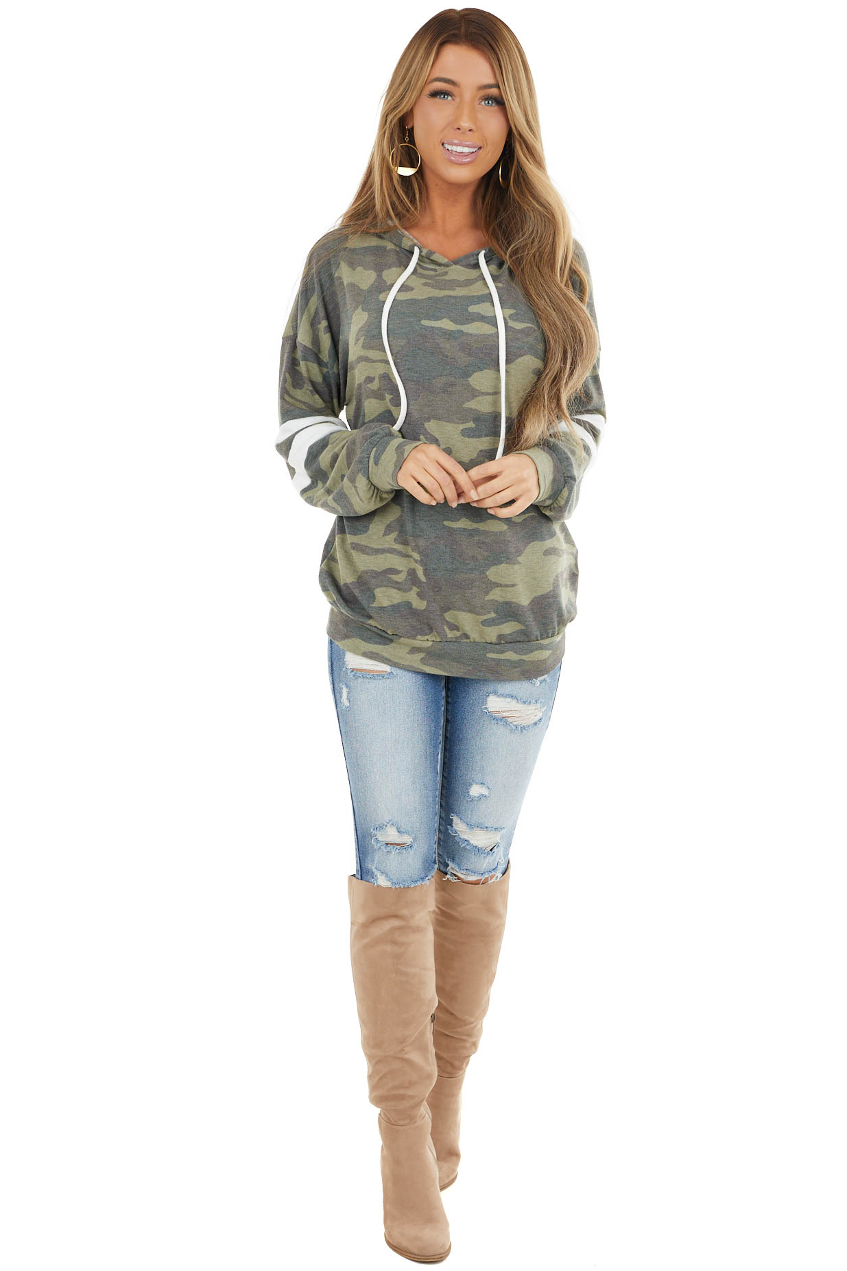 Olive Camo Knit Top with Drawstring Hoodie and Stripe Detail